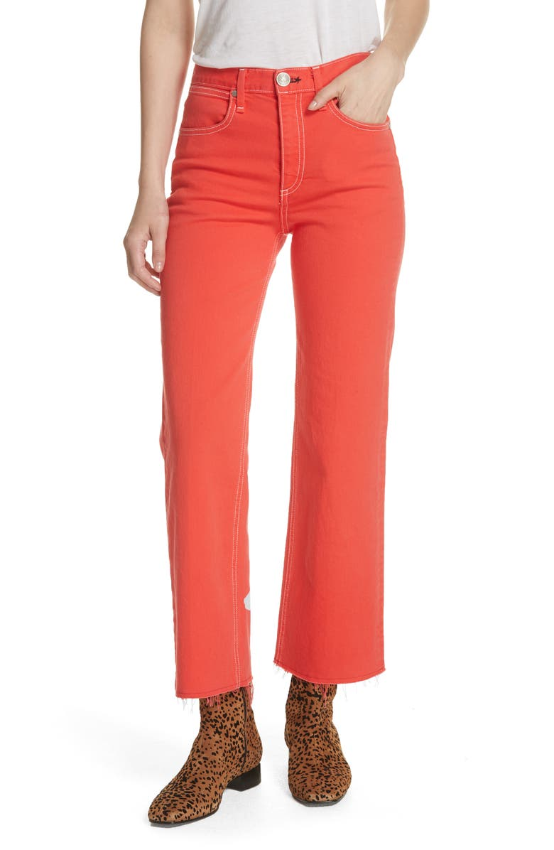 Justine High Waist Ankle Wide Leg Jeans