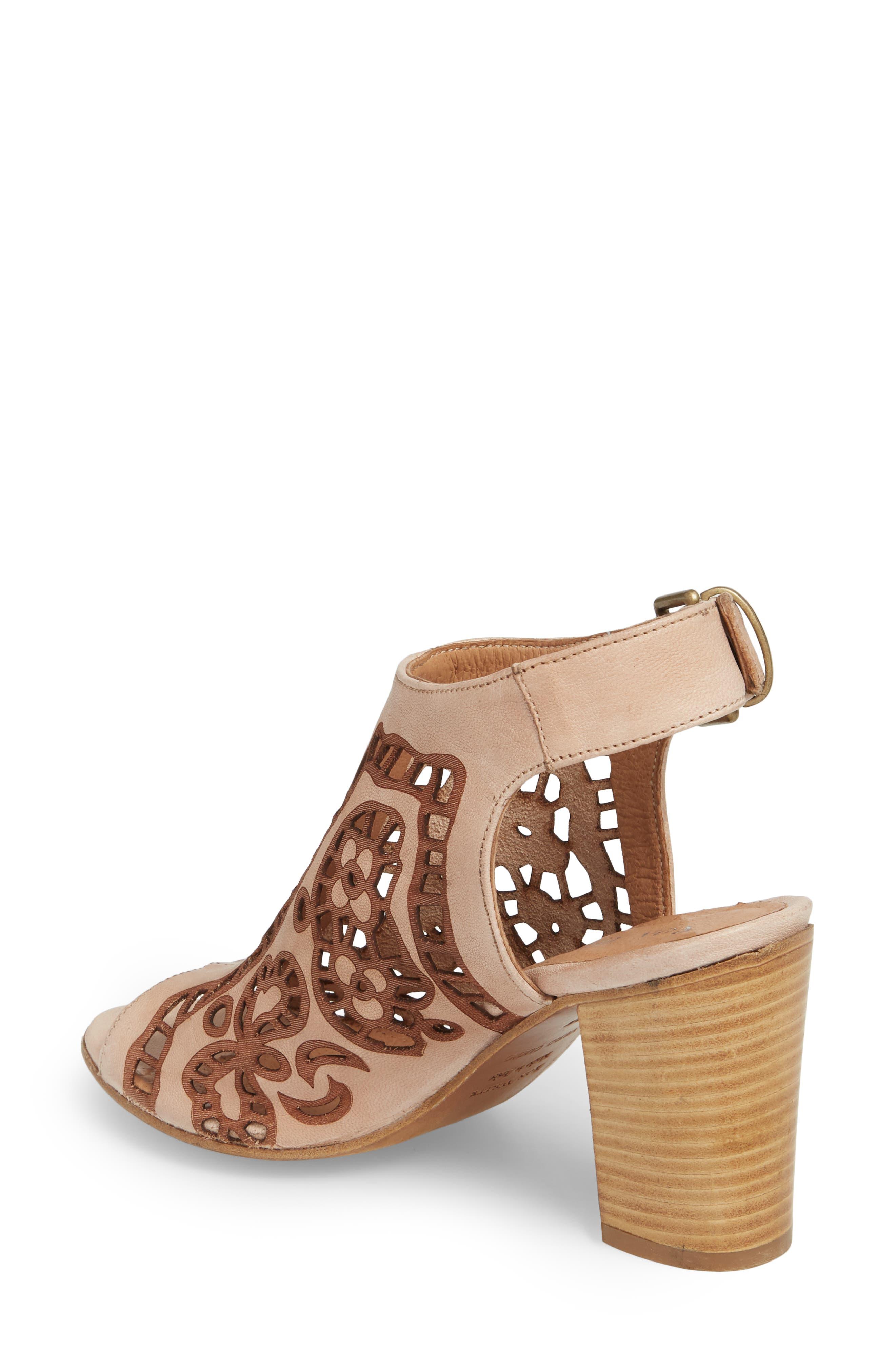 Sabrina Floral Cutout Shield Sandal,                             Alternate thumbnail 2, color,                             Blush Leather
