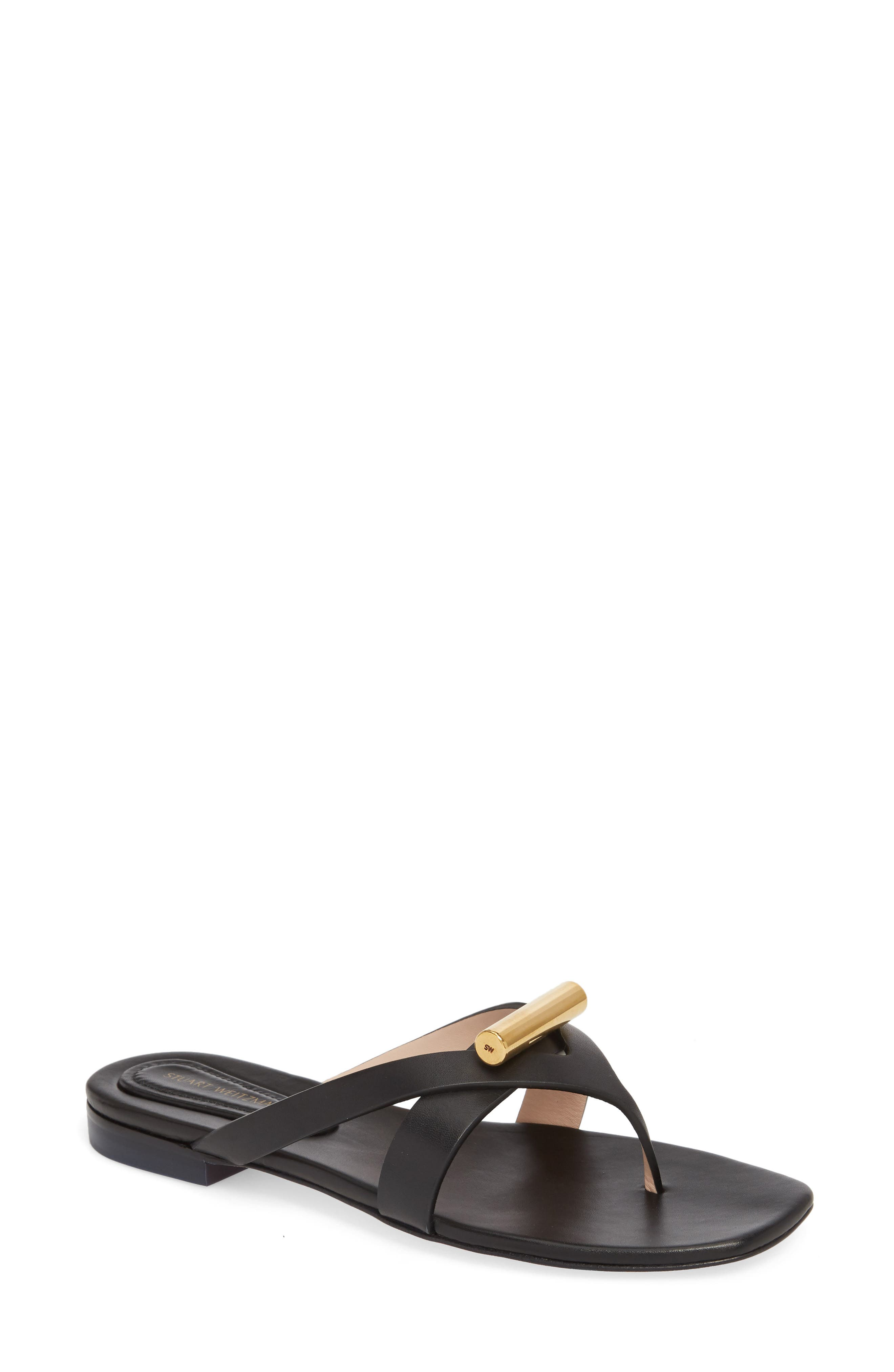 Arro Thong Sandal,                             Main thumbnail 1, color,                             Pitch Black Dexter