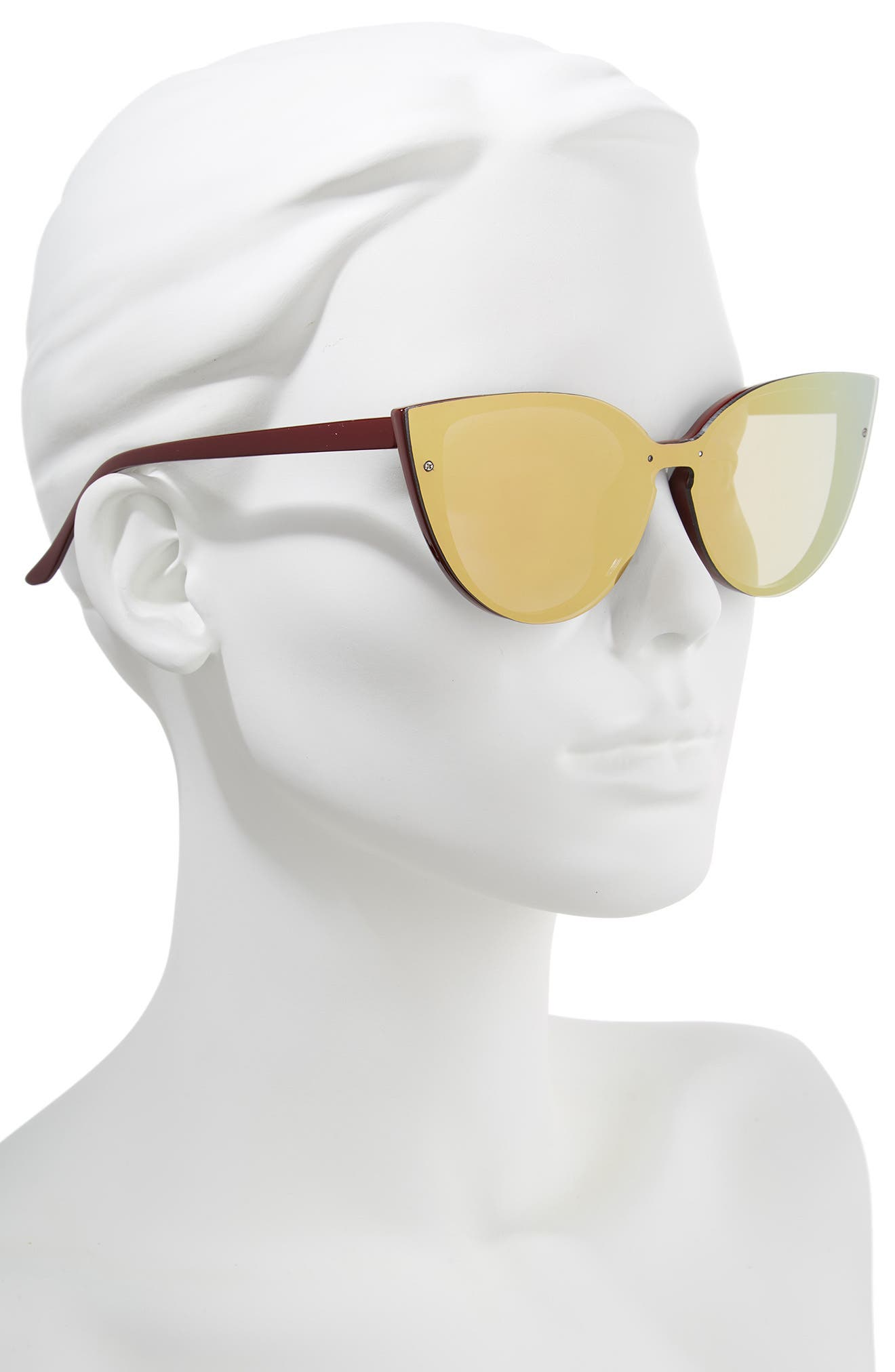 52mm Flat Cat Eye Sunglasses,                             Alternate thumbnail 2, color,                             Burgundy/ Green