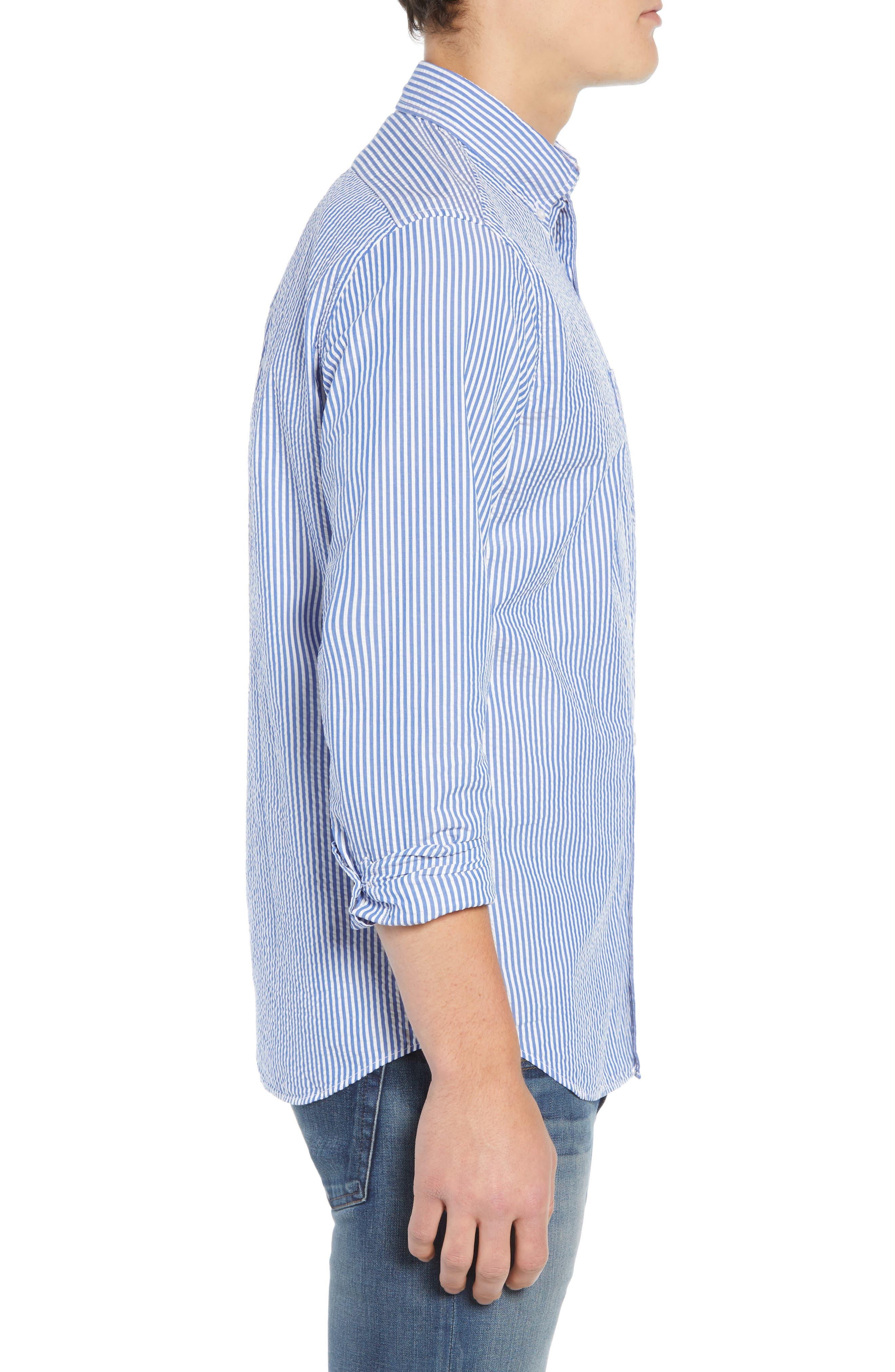 Seersucker Sport Shirt,                             Alternate thumbnail 3, color,                             White Blue
