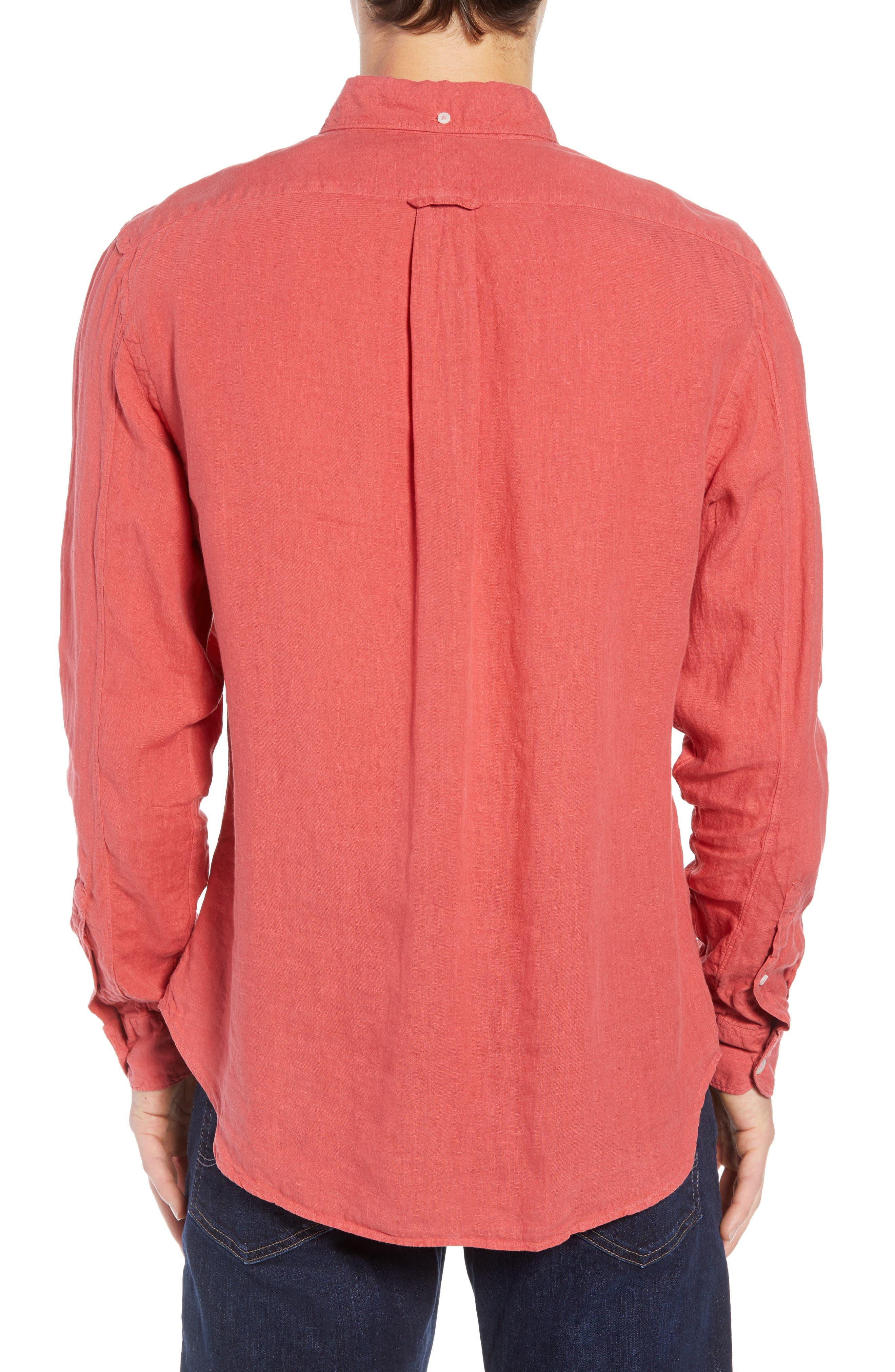 Regular Fit Linen Sport Shirt,                             Alternate thumbnail 3, color,                             Bowery Red