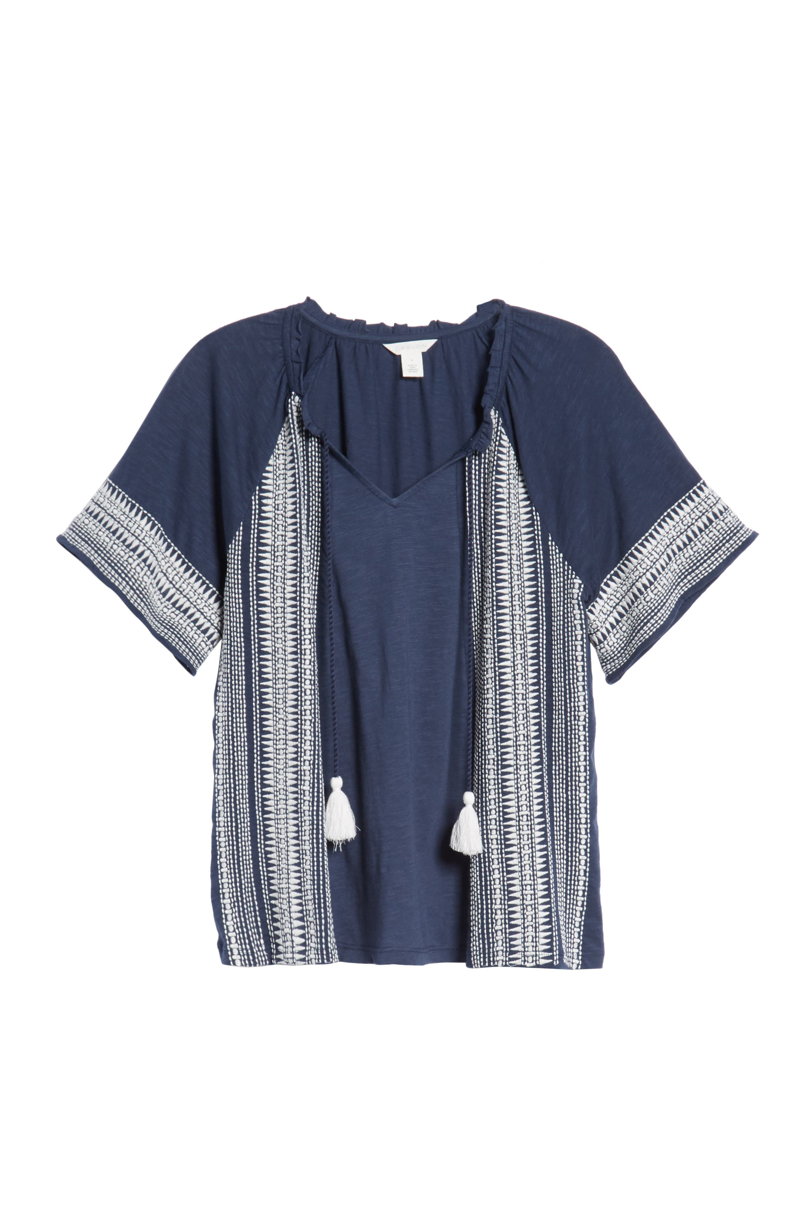 Embroidered Border Peasant Top,                             Alternate thumbnail 6, color,                             Navy- Ivory Dita