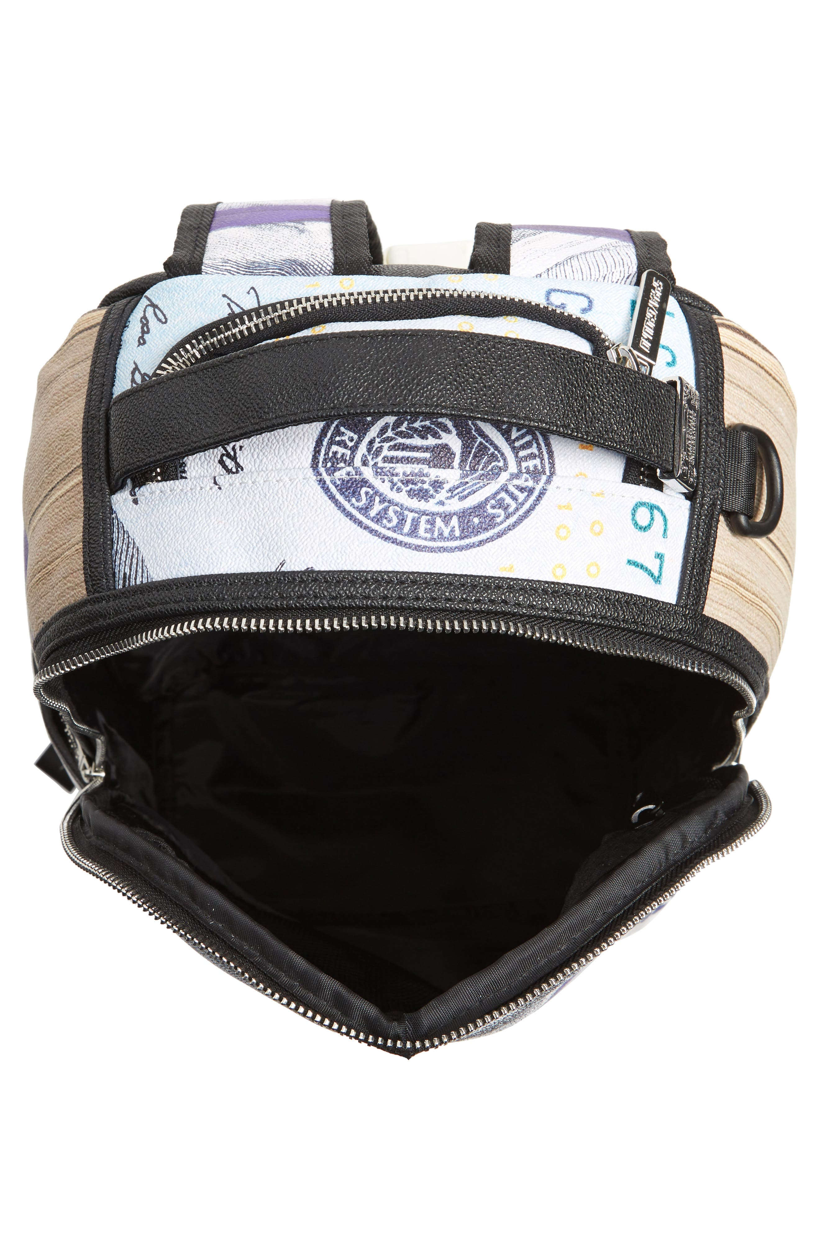 Purple Money Stacks Backpack,                             Alternate thumbnail 4, color,                             Purple