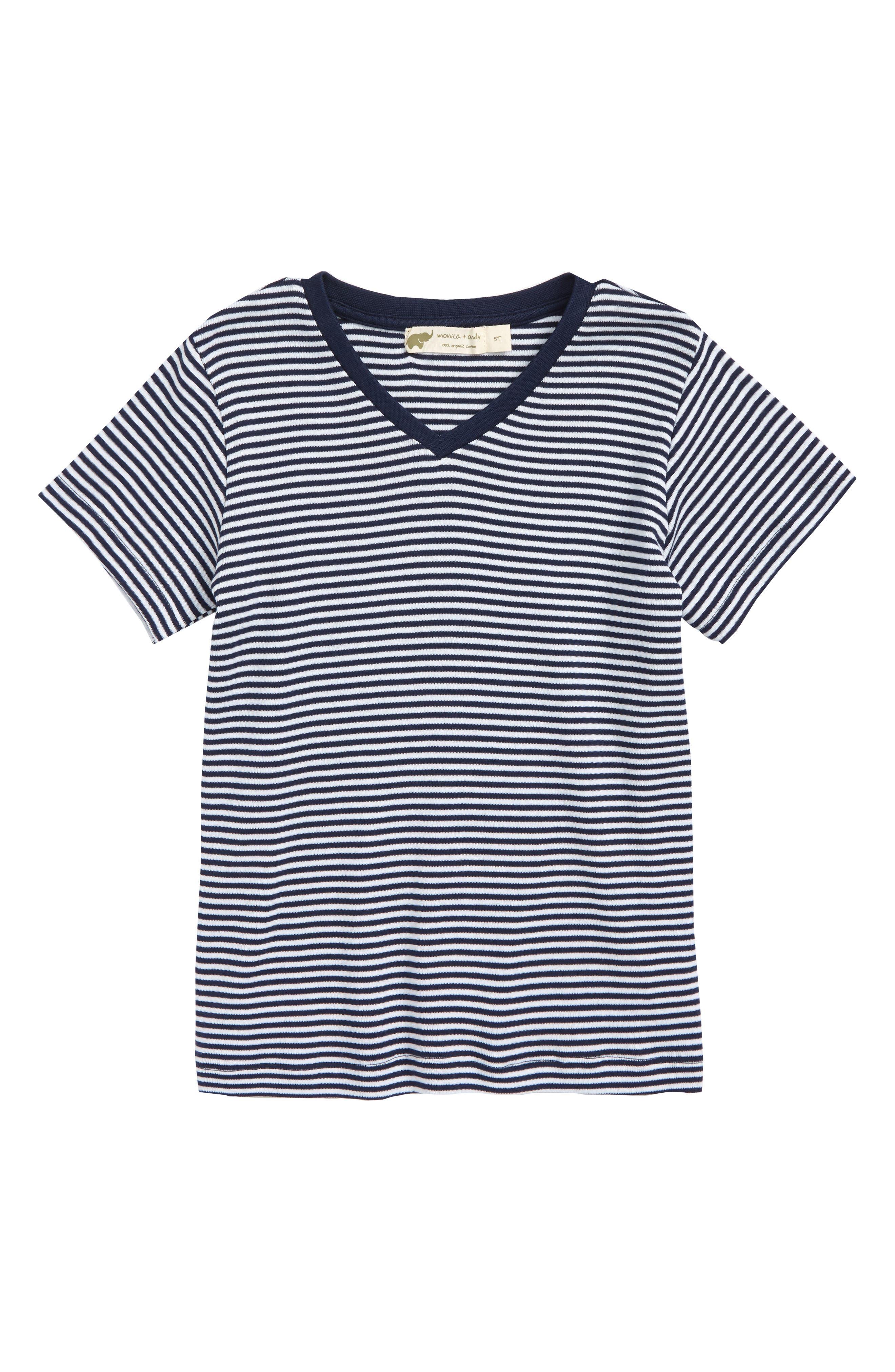 Stripe Organic Cotton T-Shirt,                             Main thumbnail 1, color,                             Navy/ White Stripe