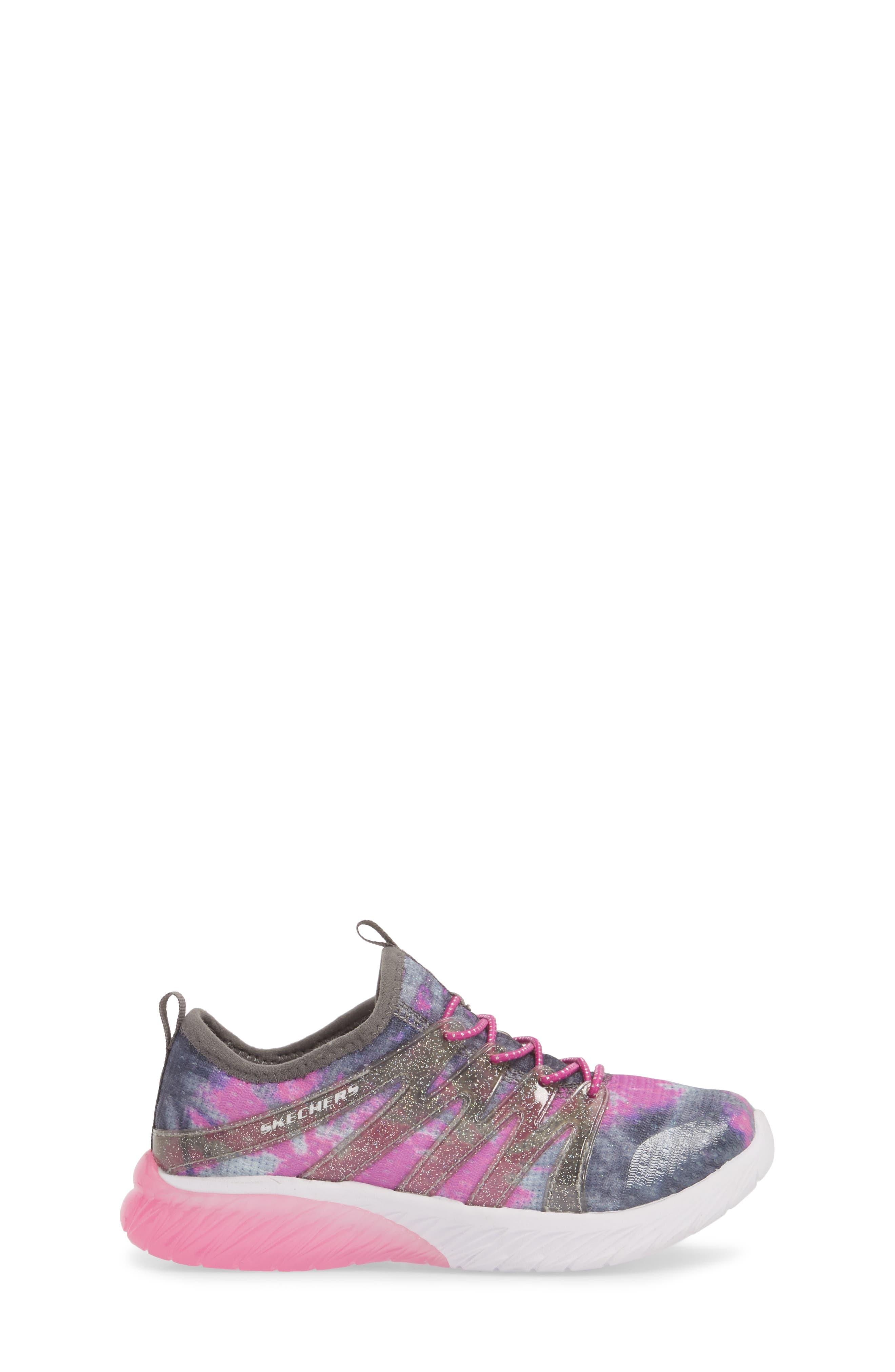 Skech Gem Glitter Sneaker,                             Alternate thumbnail 3, color,                             Charcoal/ Hot Pink