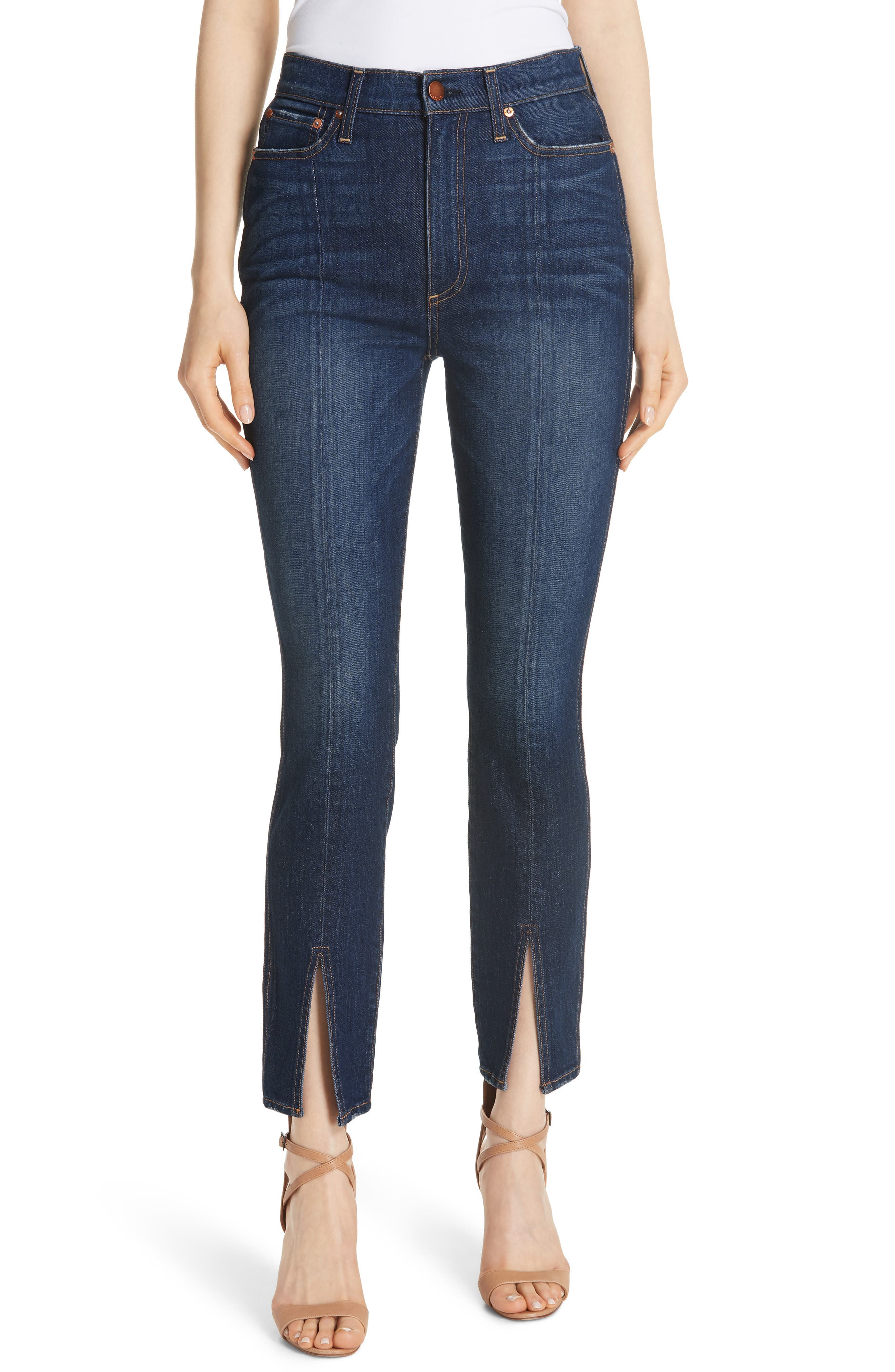 Good High Waist Front Slit Skinny Jeans,                             Main thumbnail 1, color,                             Good Times