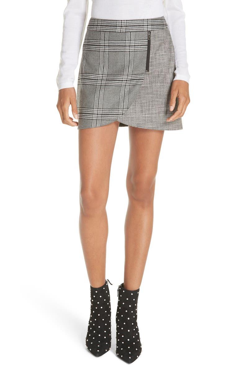 Mix Check Overlap Mini Skirt