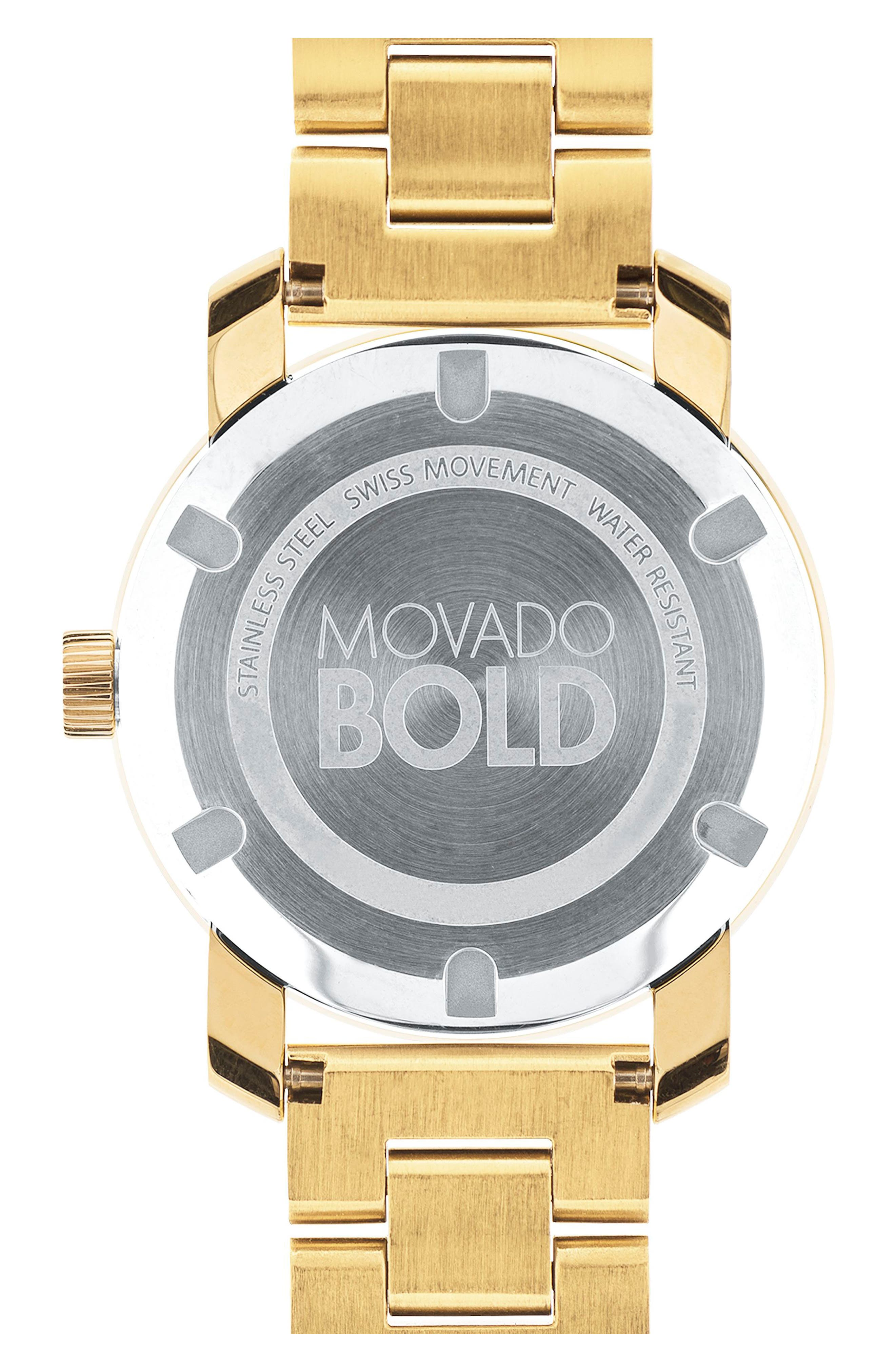 'Bold' Crystal Marker Bracelet Watch, 36mm,                             Alternate thumbnail 2, color,                             Gold