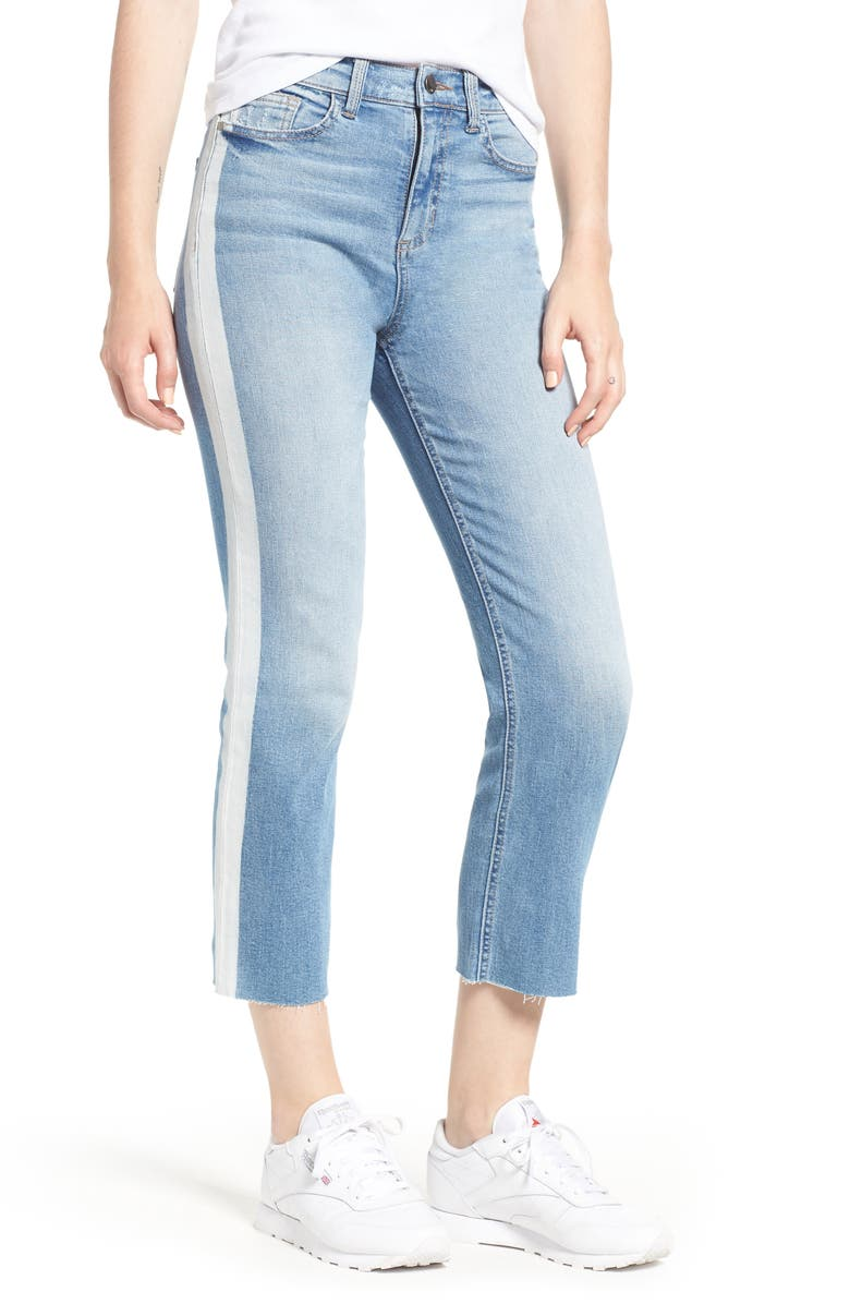 Side Stripe Straight Leg Crop Jeans