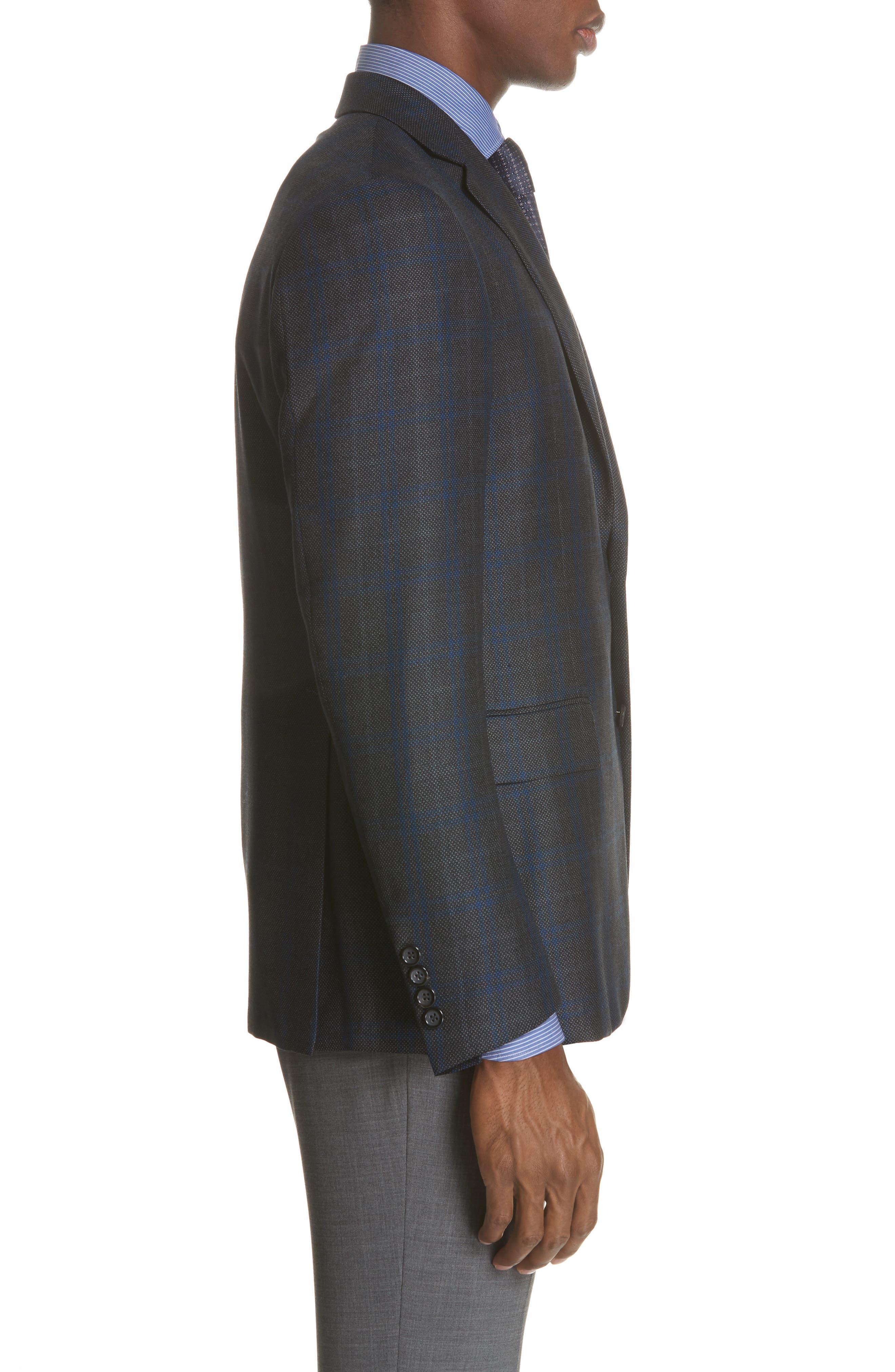 Classic Fit Plaid Silk & Wool Sport Coat,                             Alternate thumbnail 5, color,                             Charcoal