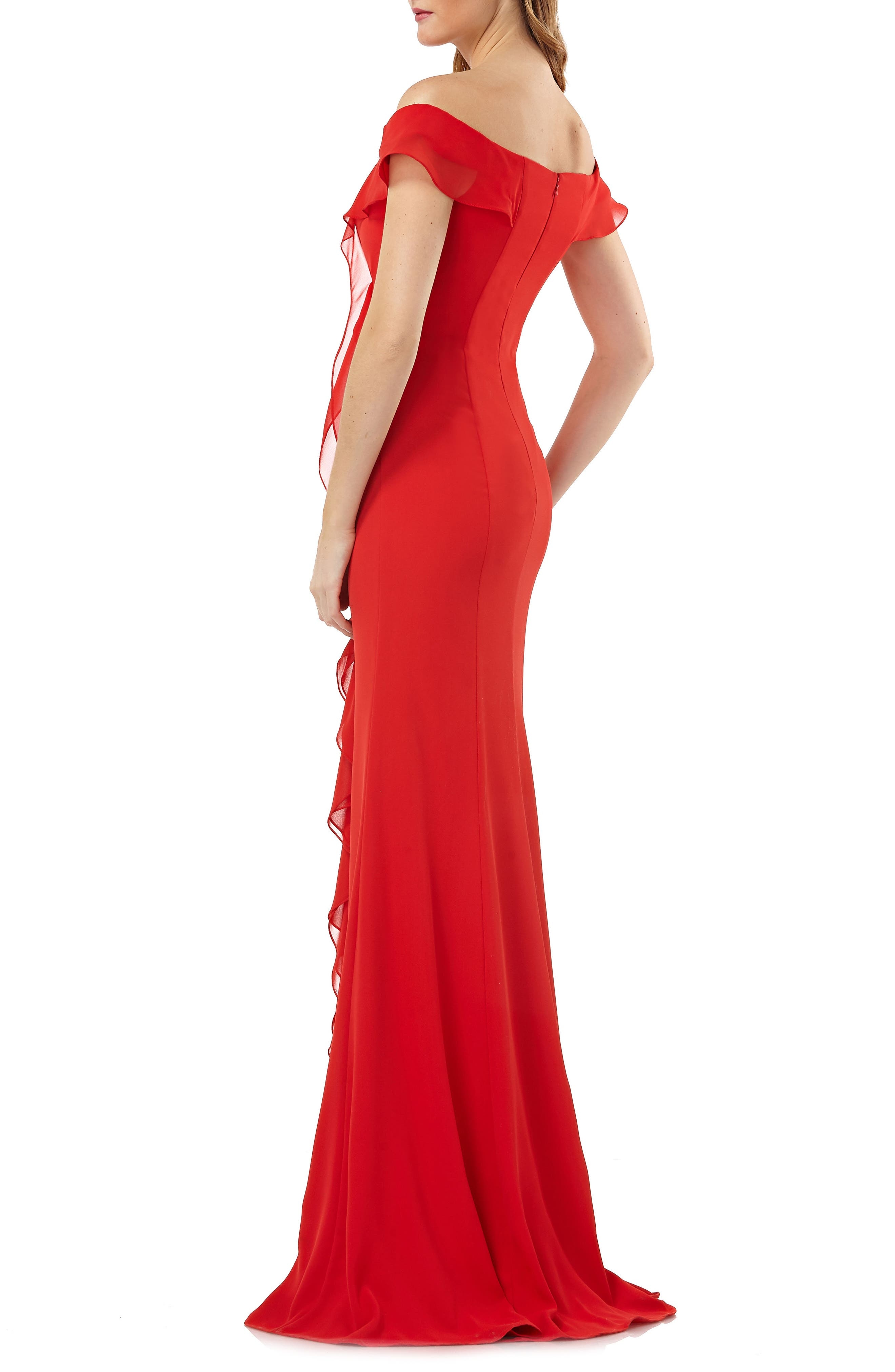 Off the Shoulder Cascading Ruffle Gown,                             Alternate thumbnail 2, color,                             Flame Red