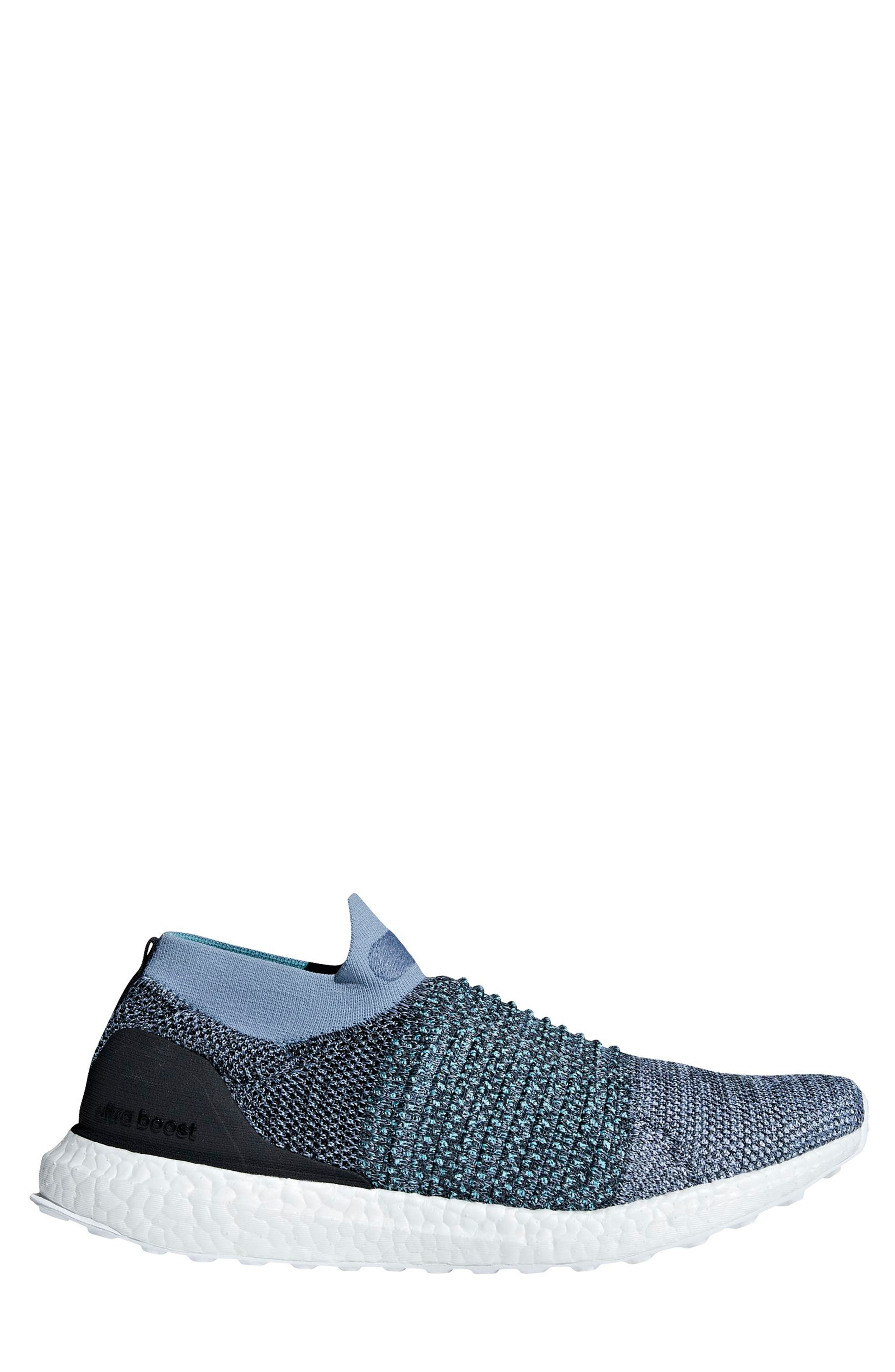 UltraBoost Laceless Running Shoe,                         Main,                         color, Raw Grey/ Carbon/ Blue Spirit