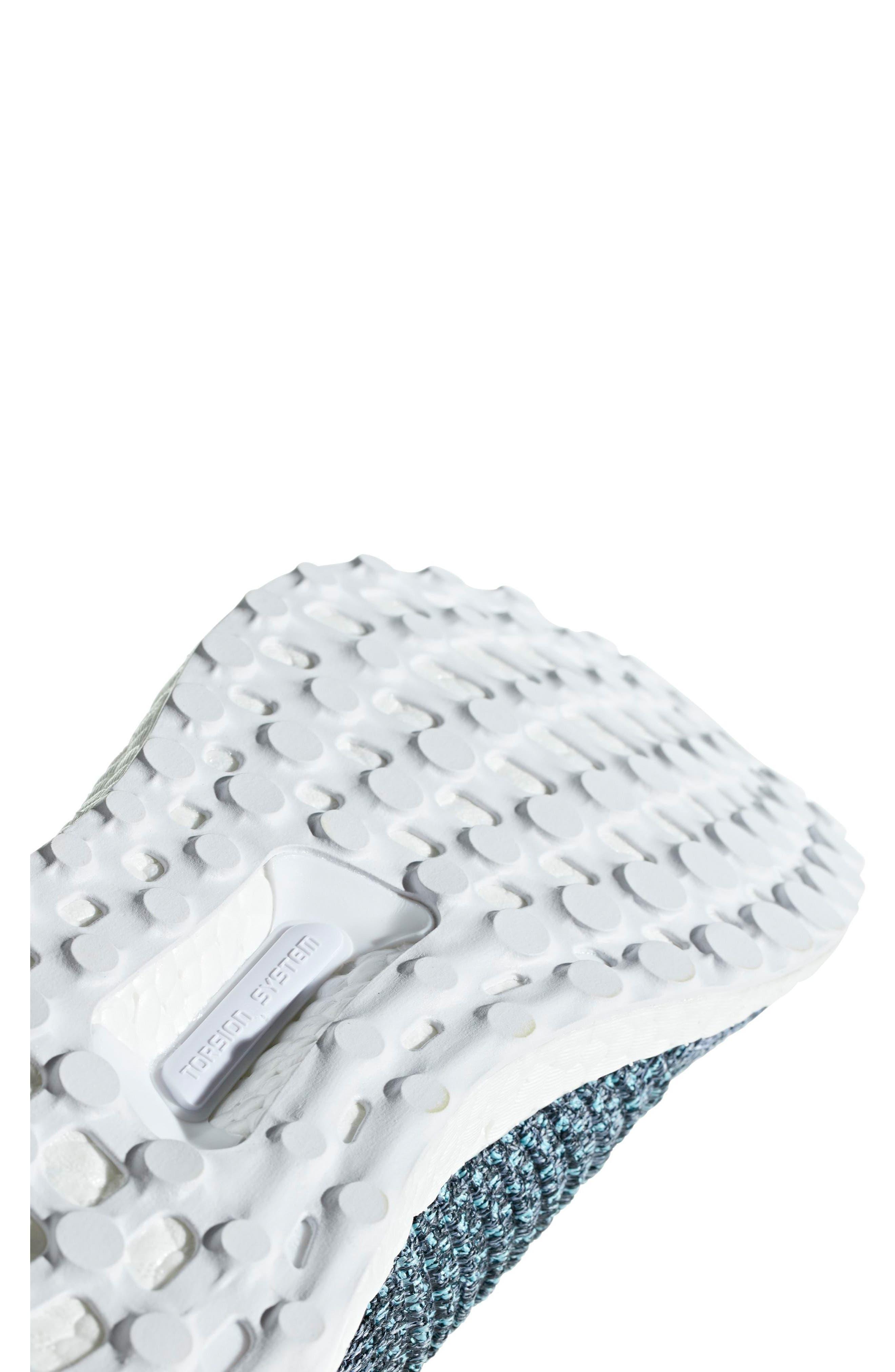 UltraBoost Laceless Running Shoe,                             Alternate thumbnail 6, color,                             Raw Grey/ Carbon/ Blue Spirit