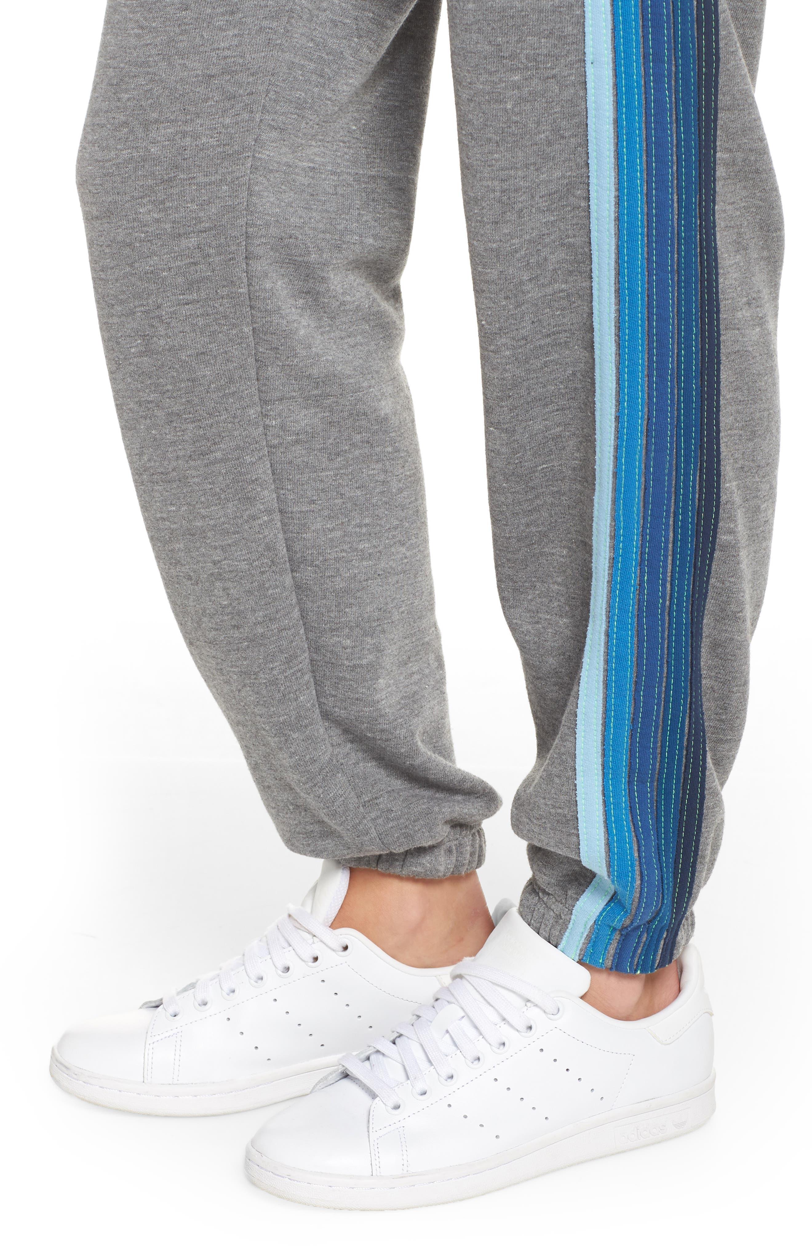 Stripe Sweatpants,                             Alternate thumbnail 7, color,                             Heather Grey/ Blue Stripes