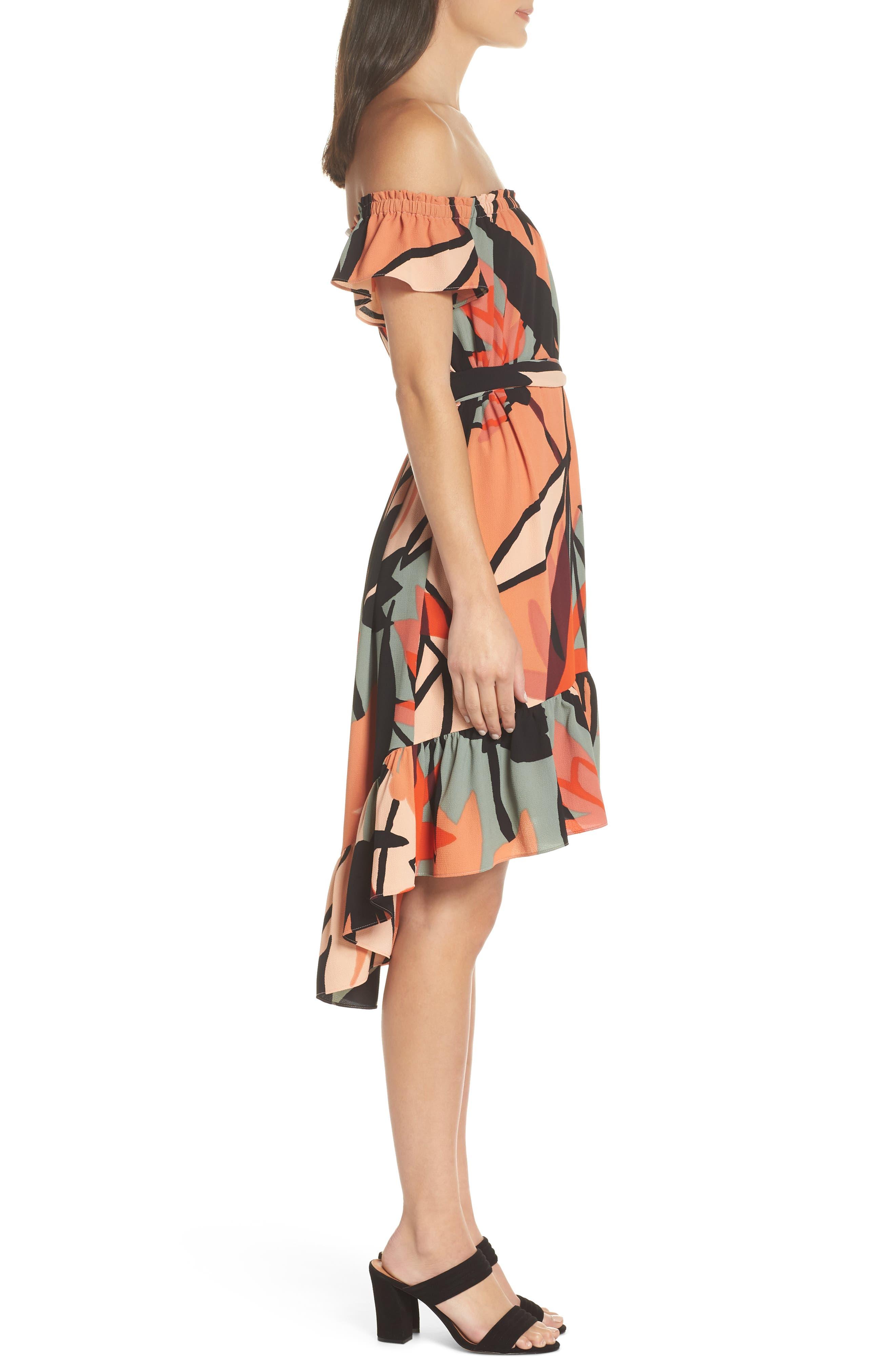 Off the Shoulder Bubble Crepe Dress,                             Alternate thumbnail 3, color,                             Peach / Black