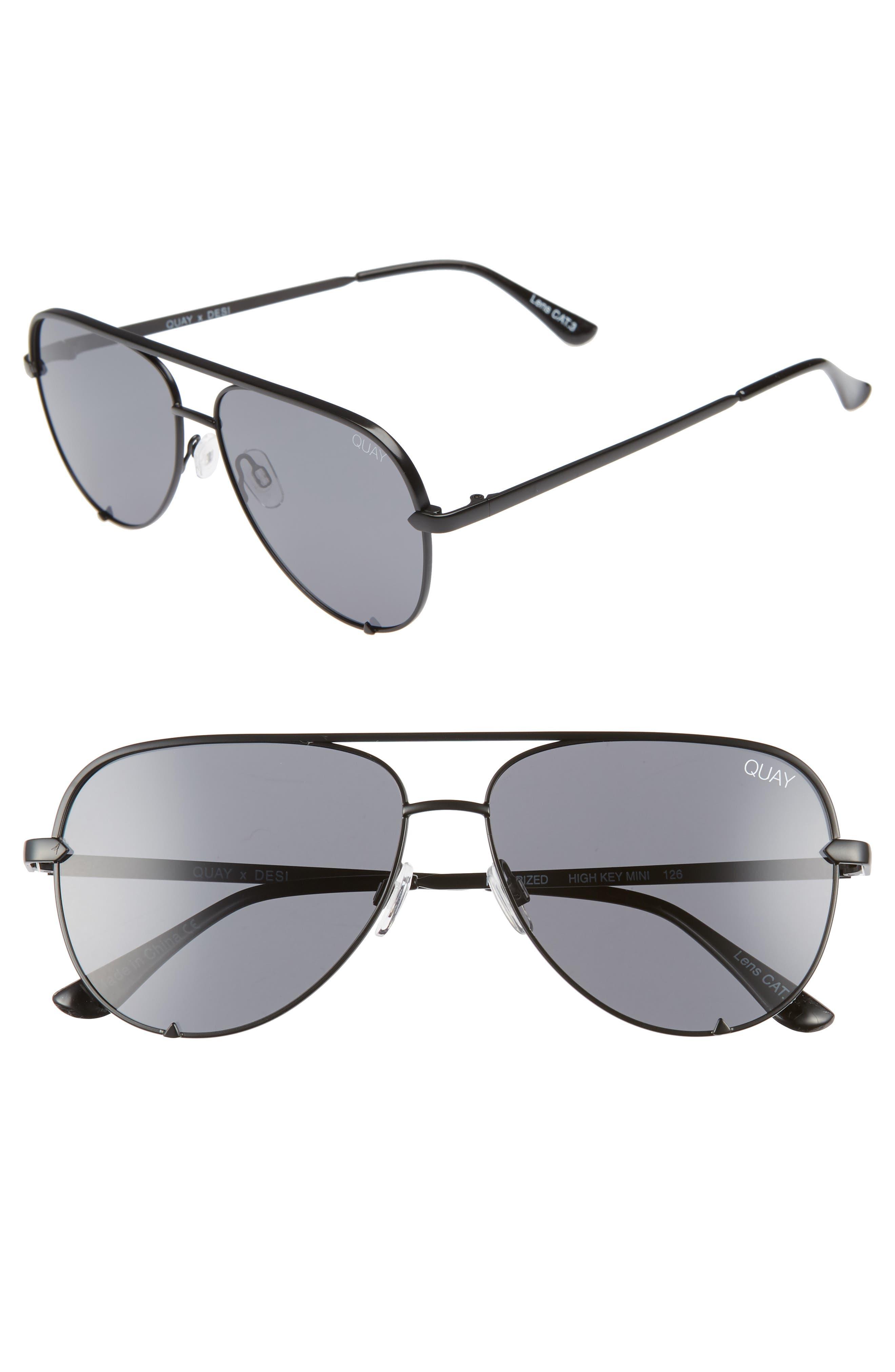 x Desi Perkins High Key Mini 57mm Aviator Sunglasses,                             Main thumbnail 1, color,                             Black/ Smoke