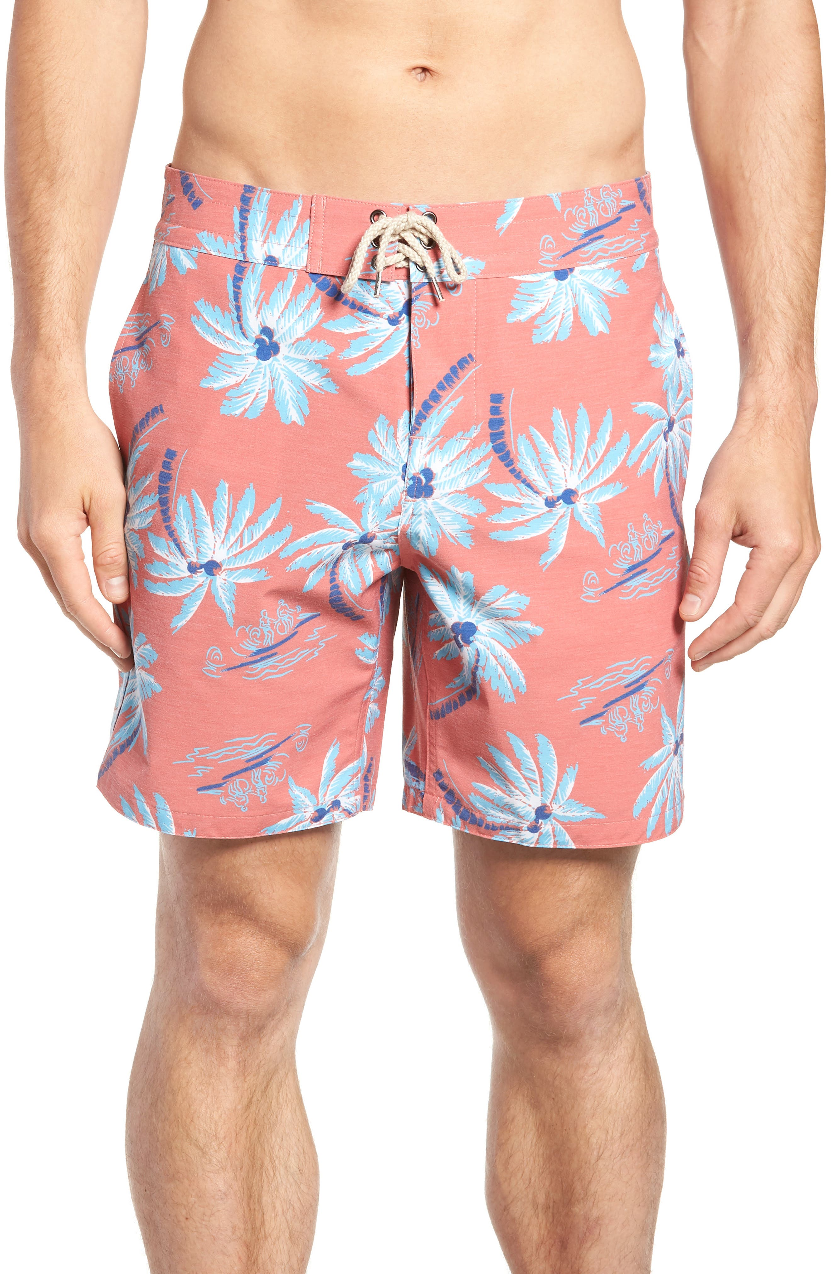 Classic Board Shorts,                         Main,                         color, Red Palm Hawaiian