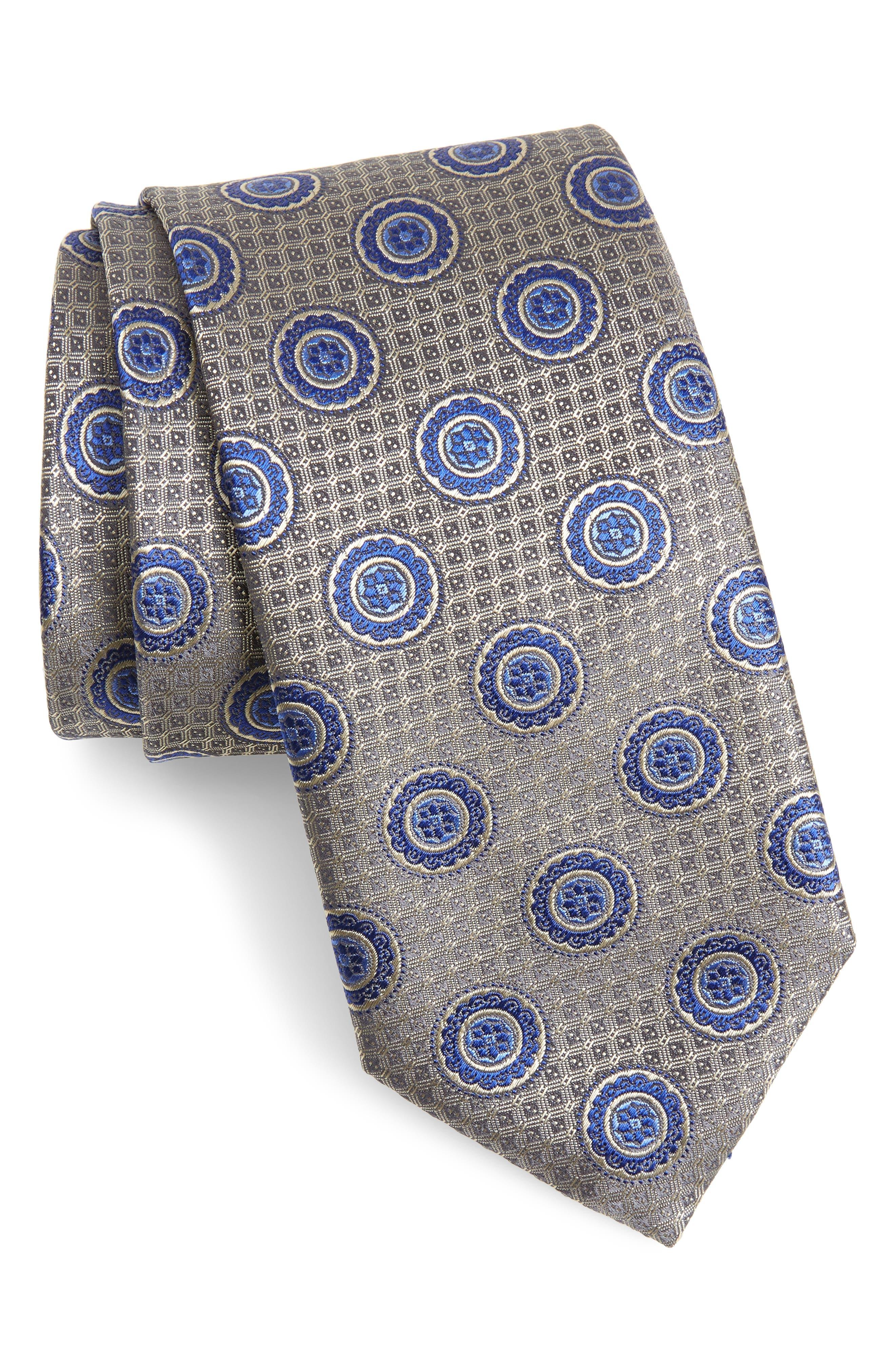 Medallion Silk Tie,                         Main,                         color, Silver