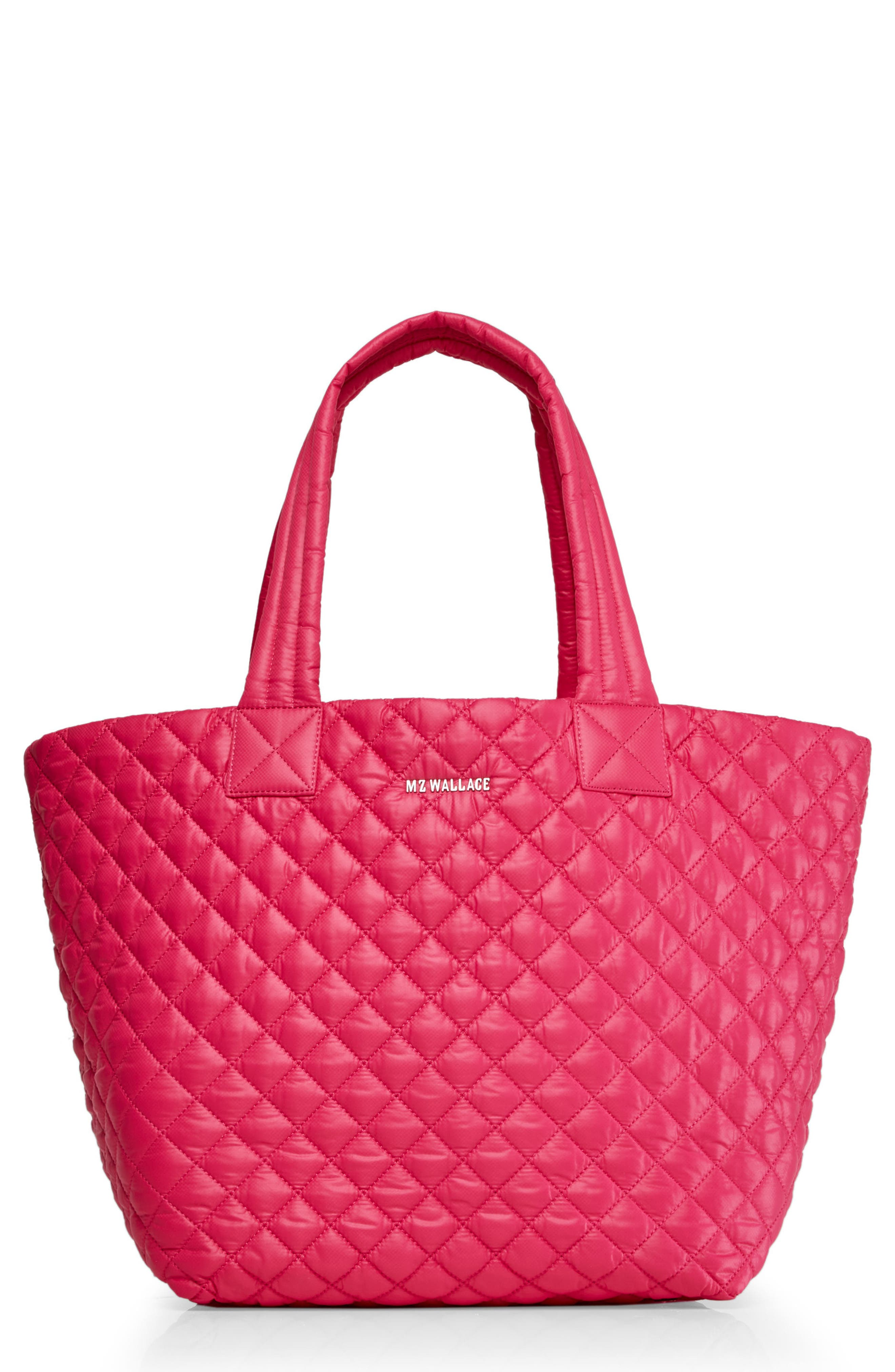 'Medium Metro' Quilted Lacquer Tote,                         Main,                         color, Dragon Fruit