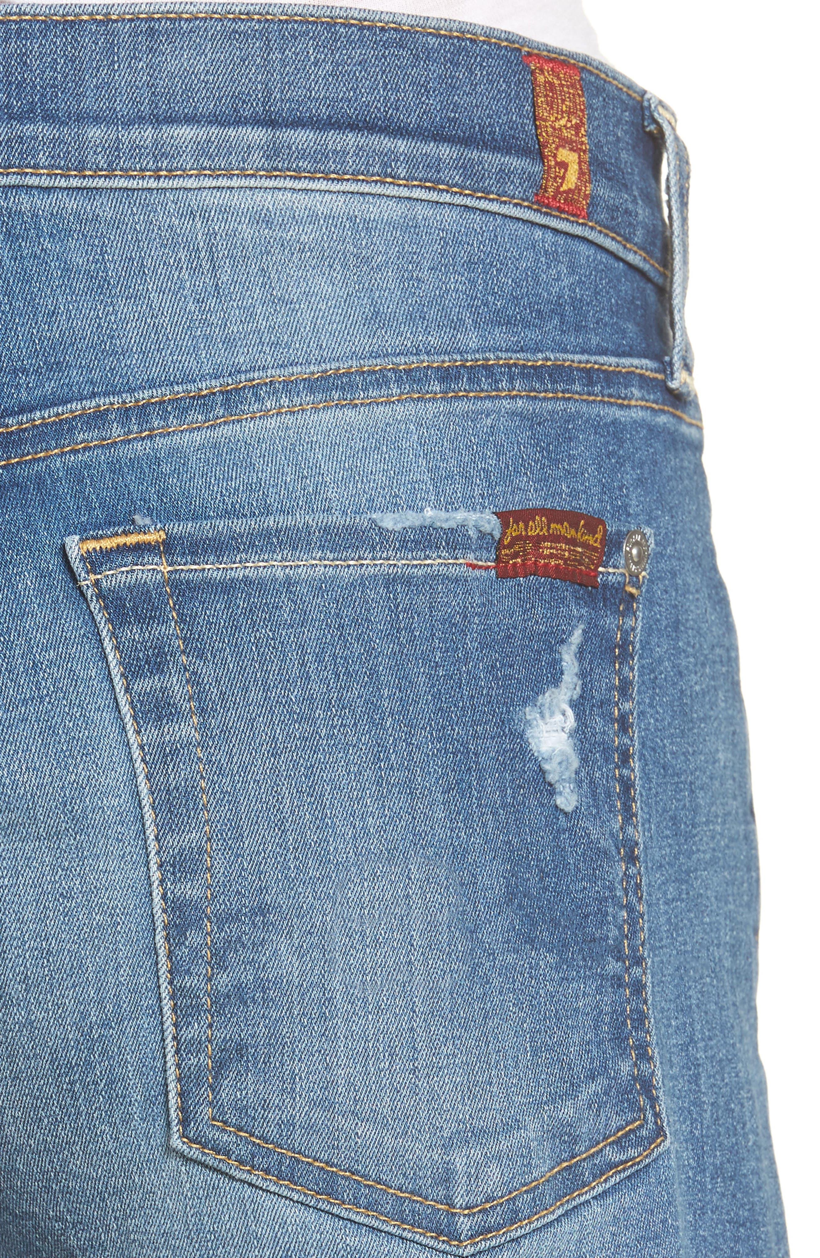 High Waist Cutoff Denim Shorts,                             Alternate thumbnail 4, color,                             Ocean Mist