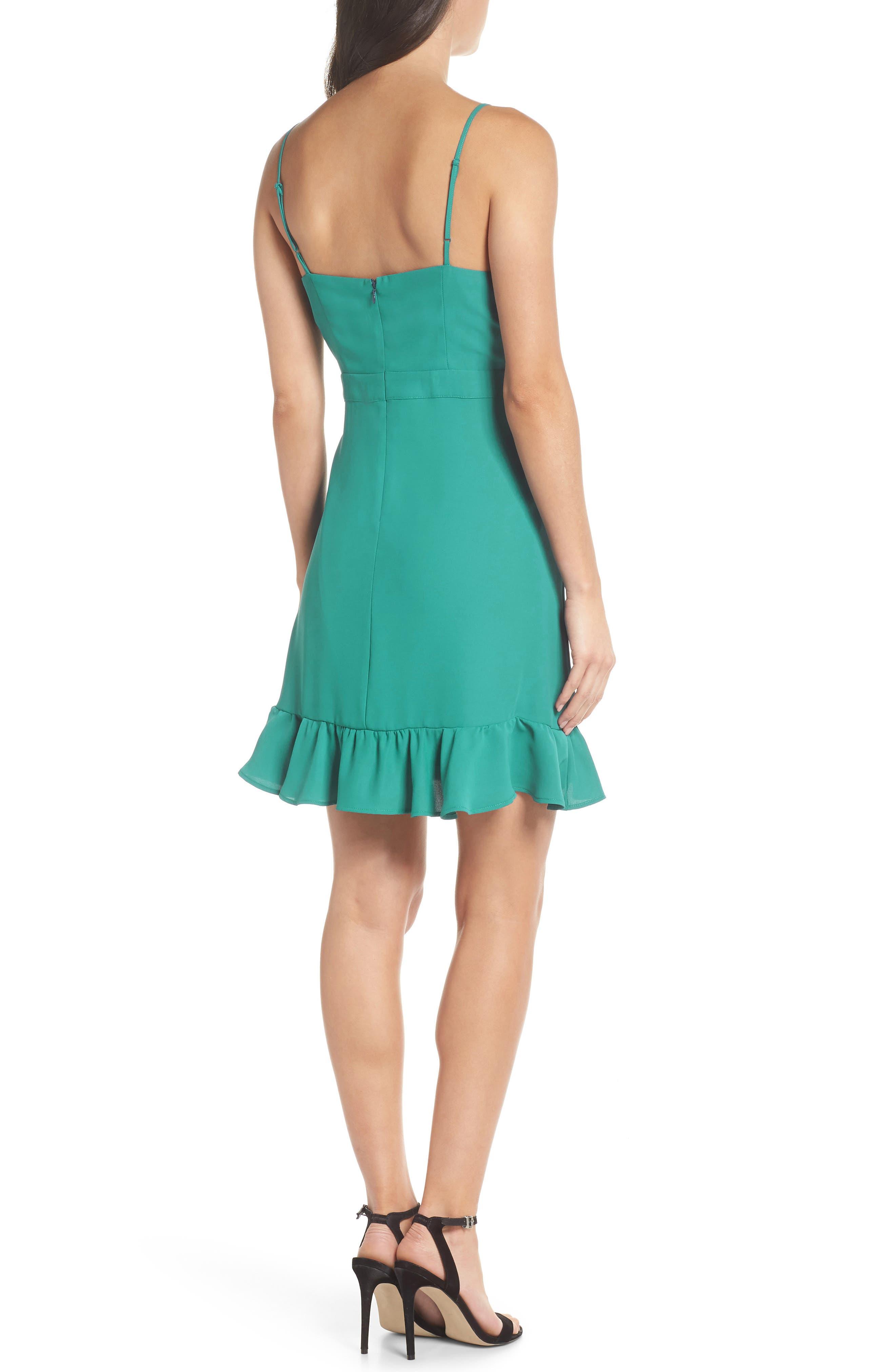 Crepe Skater Dress,                             Alternate thumbnail 2, color,                             Aquamarine