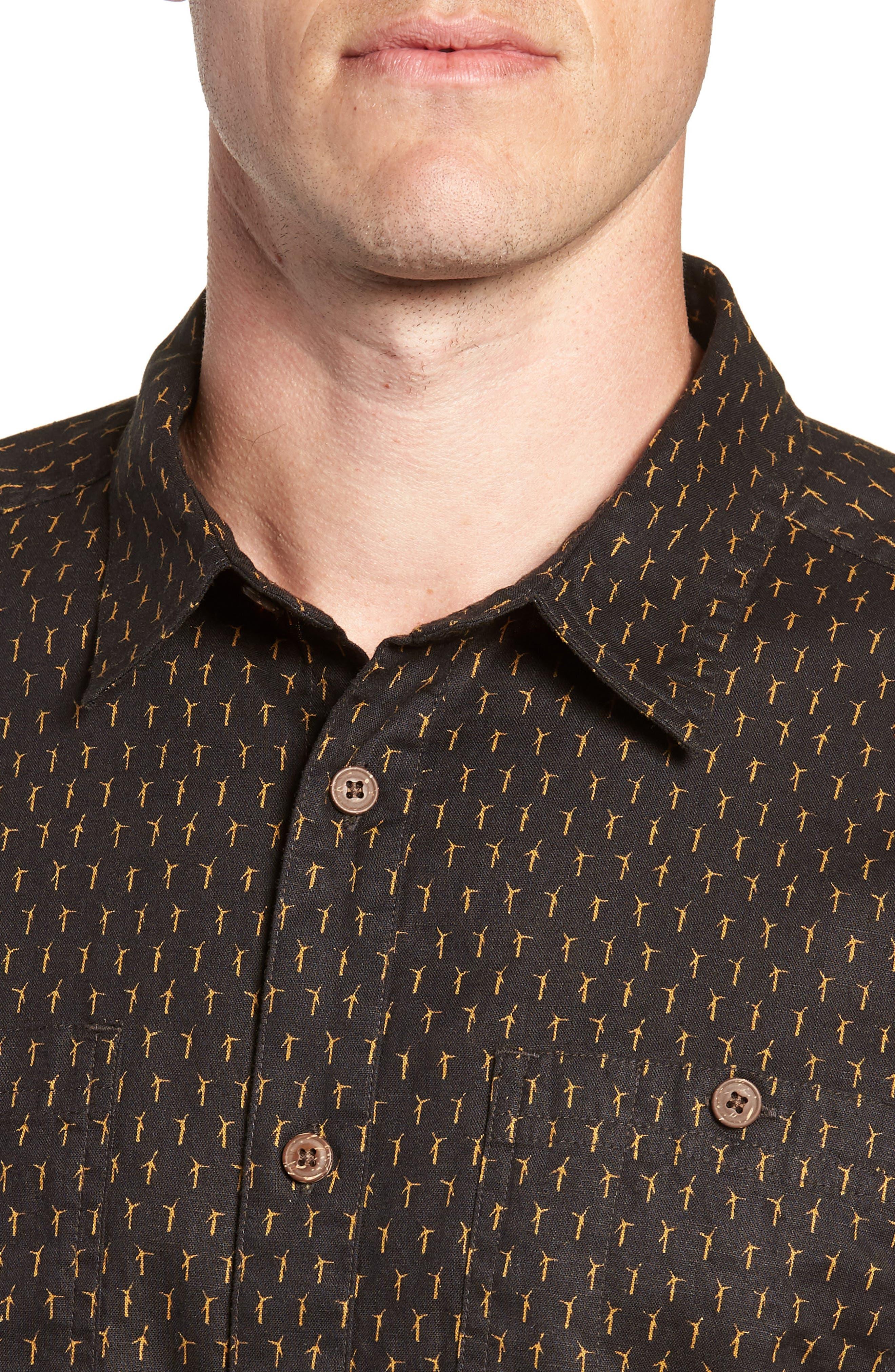 'Back Step' Regular Fit Check Short Sleeve Sport Shirt,                             Alternate thumbnail 5, color,                             Windmills/ Ink Black