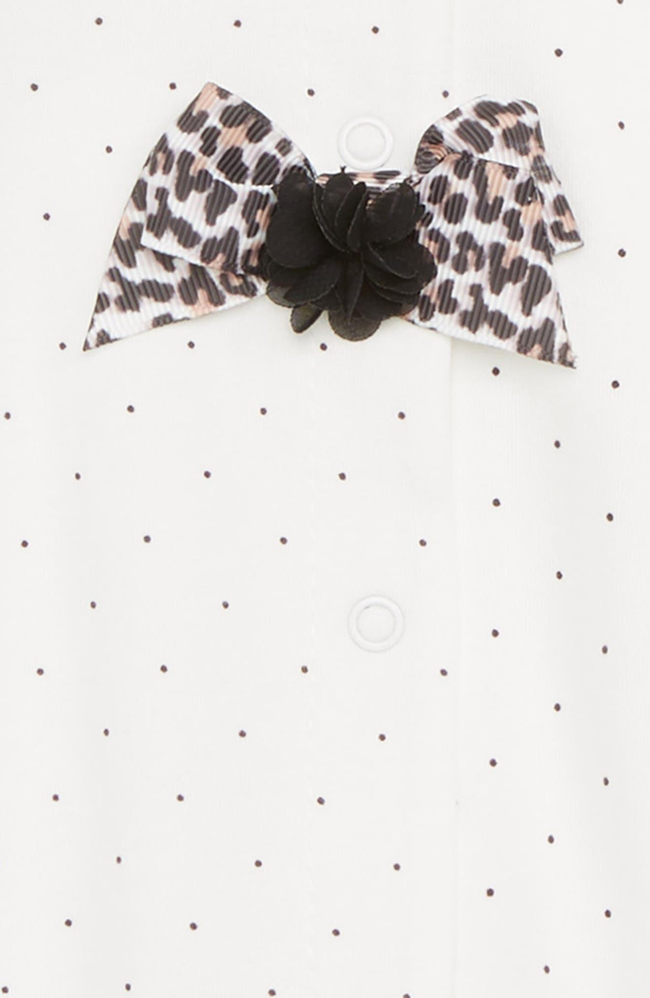 Leopard Bows Footie,                             Alternate thumbnail 2, color,                             Marshmallow/ Black