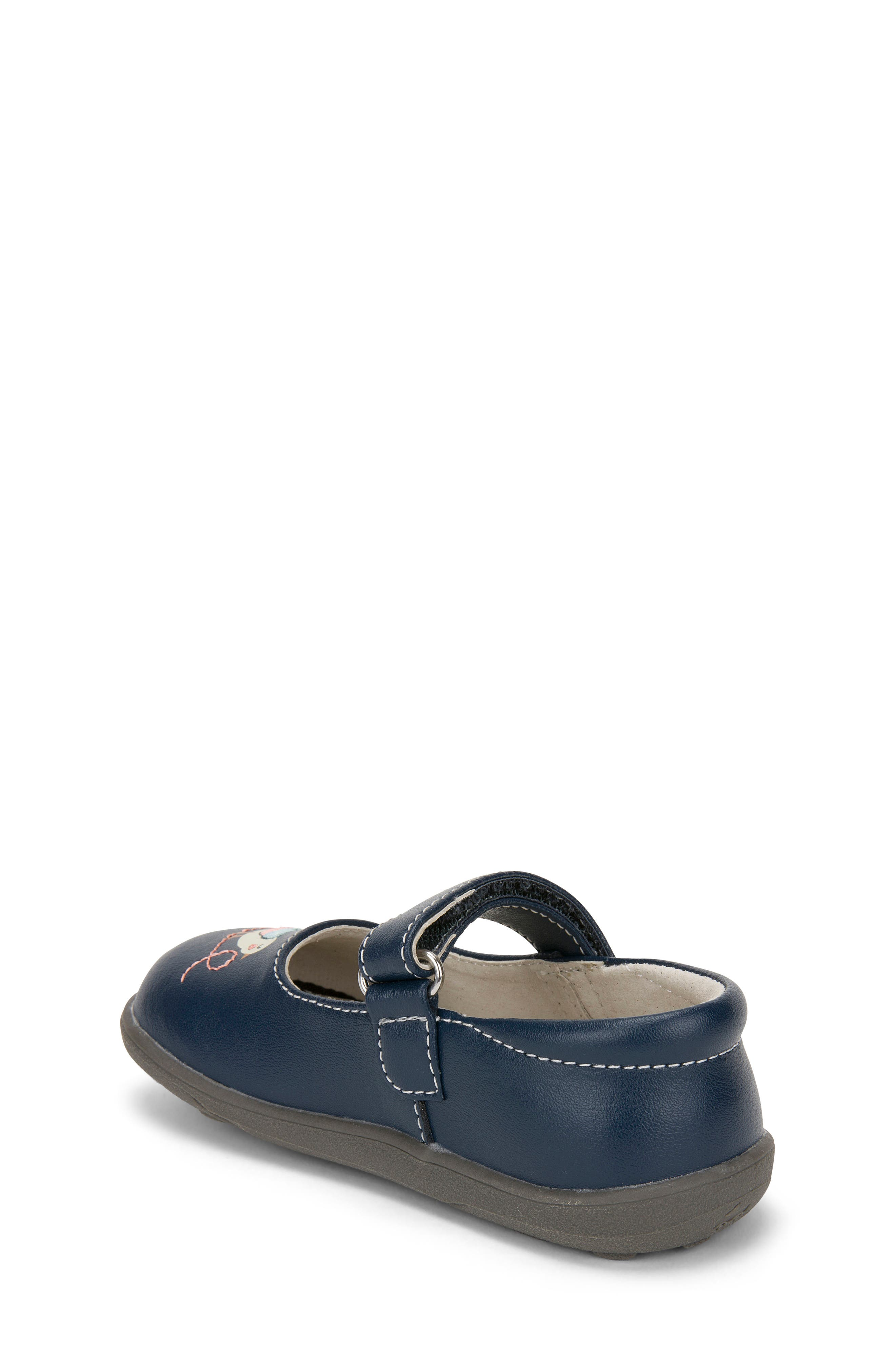 Ava Mary Jane Flat,                             Alternate thumbnail 2, color,                             Navy Leather