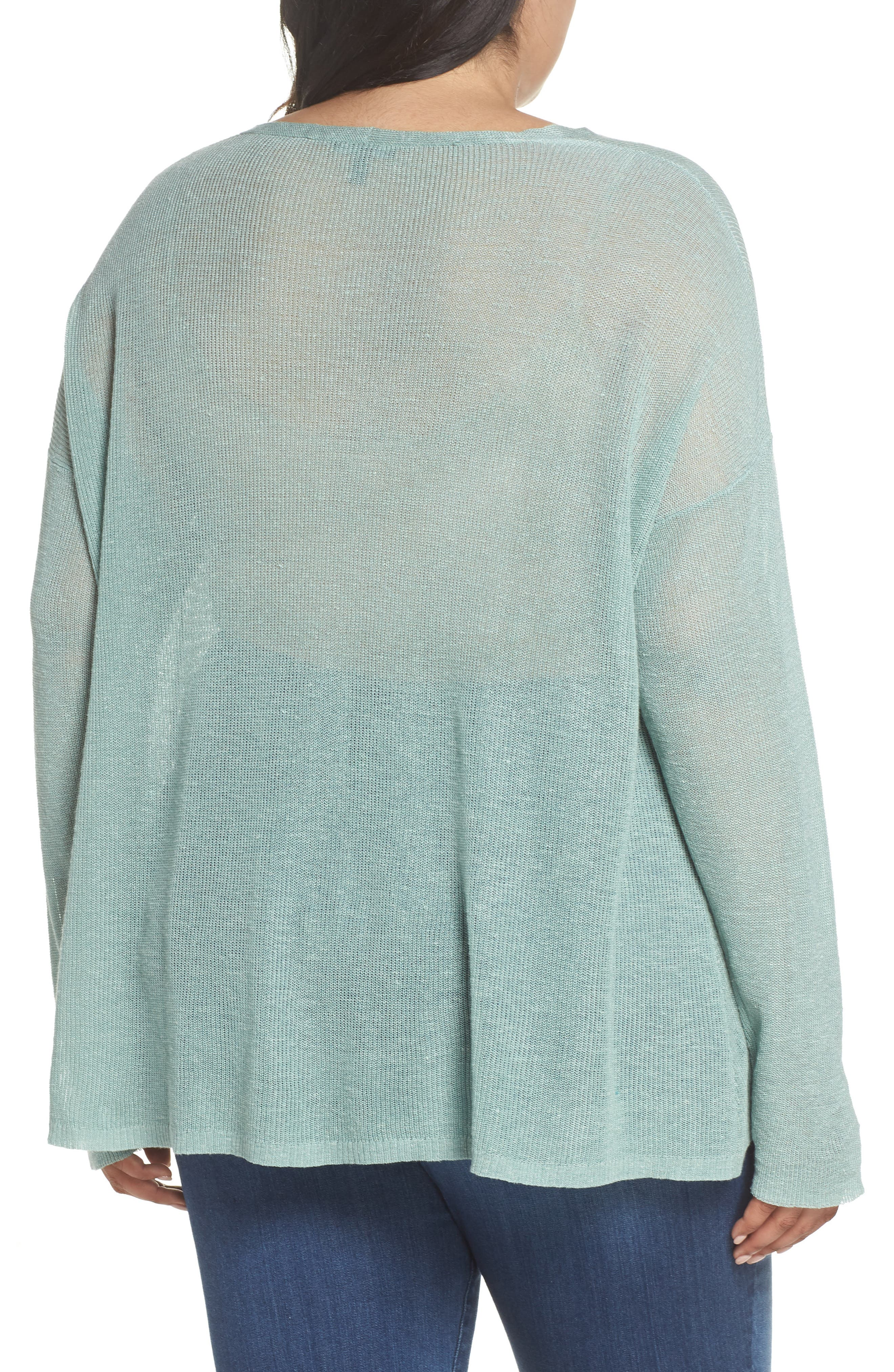Boxy Organic Linen Blend Sweater,                             Alternate thumbnail 2, color,                             Elm