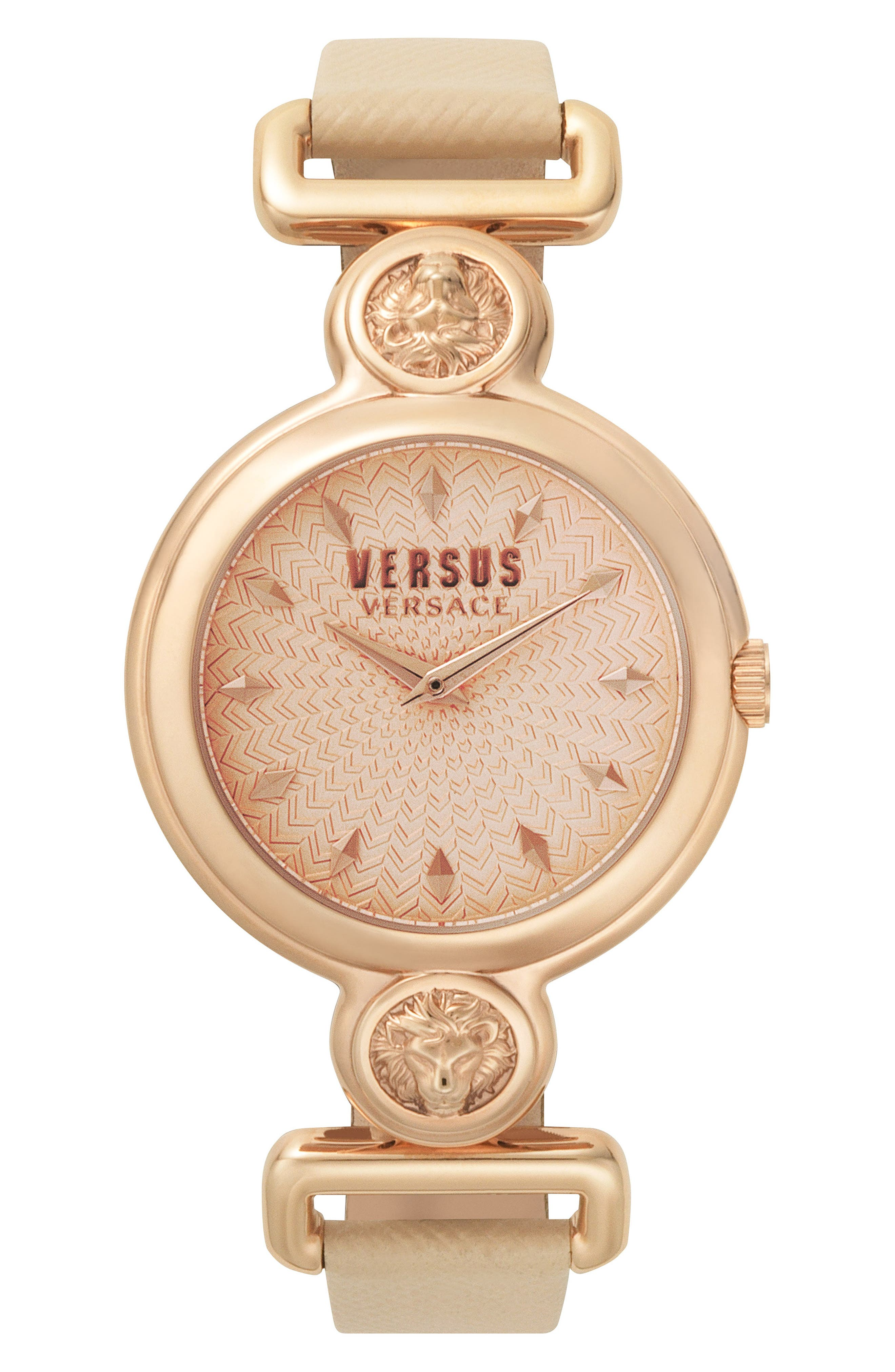 VERSUS by Versace Sunnyridge Leather Strap Watch, 34mm,                         Main,                         color, Blush/ Rose Gold