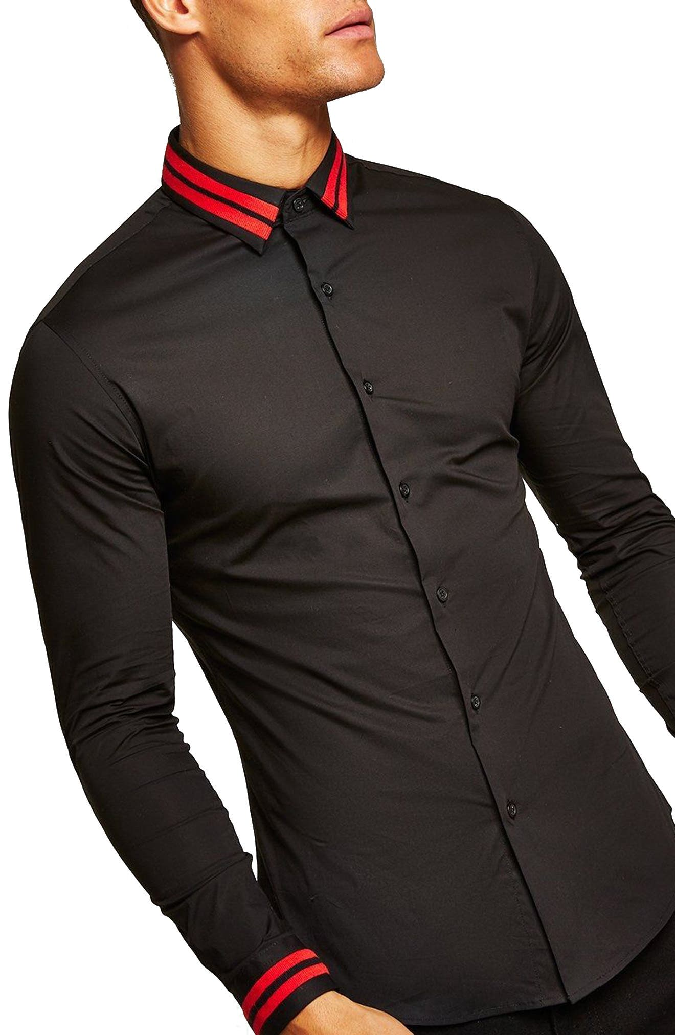 Muscle Fit Stripe Collar Shirt,                         Main,                         color, Black Multi