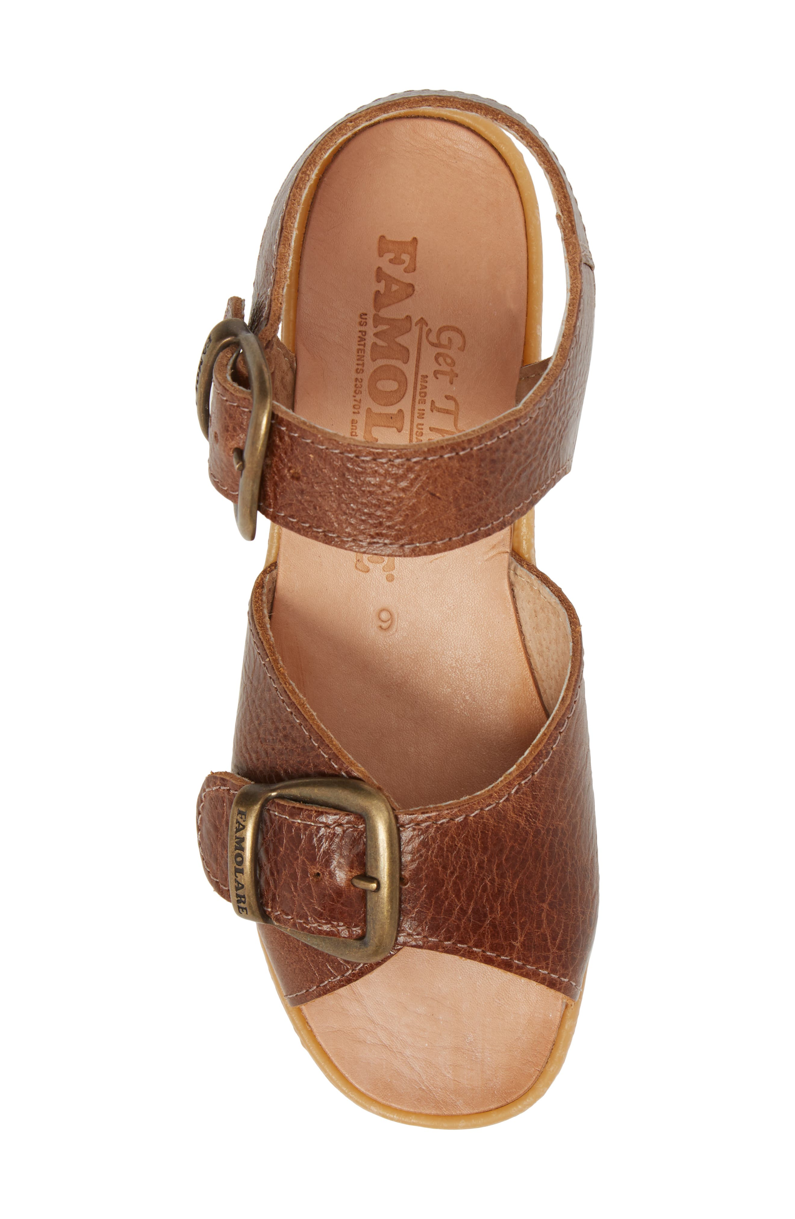 Double Play Platform Sandal,                             Alternate thumbnail 4, color,                             Earth Leather
