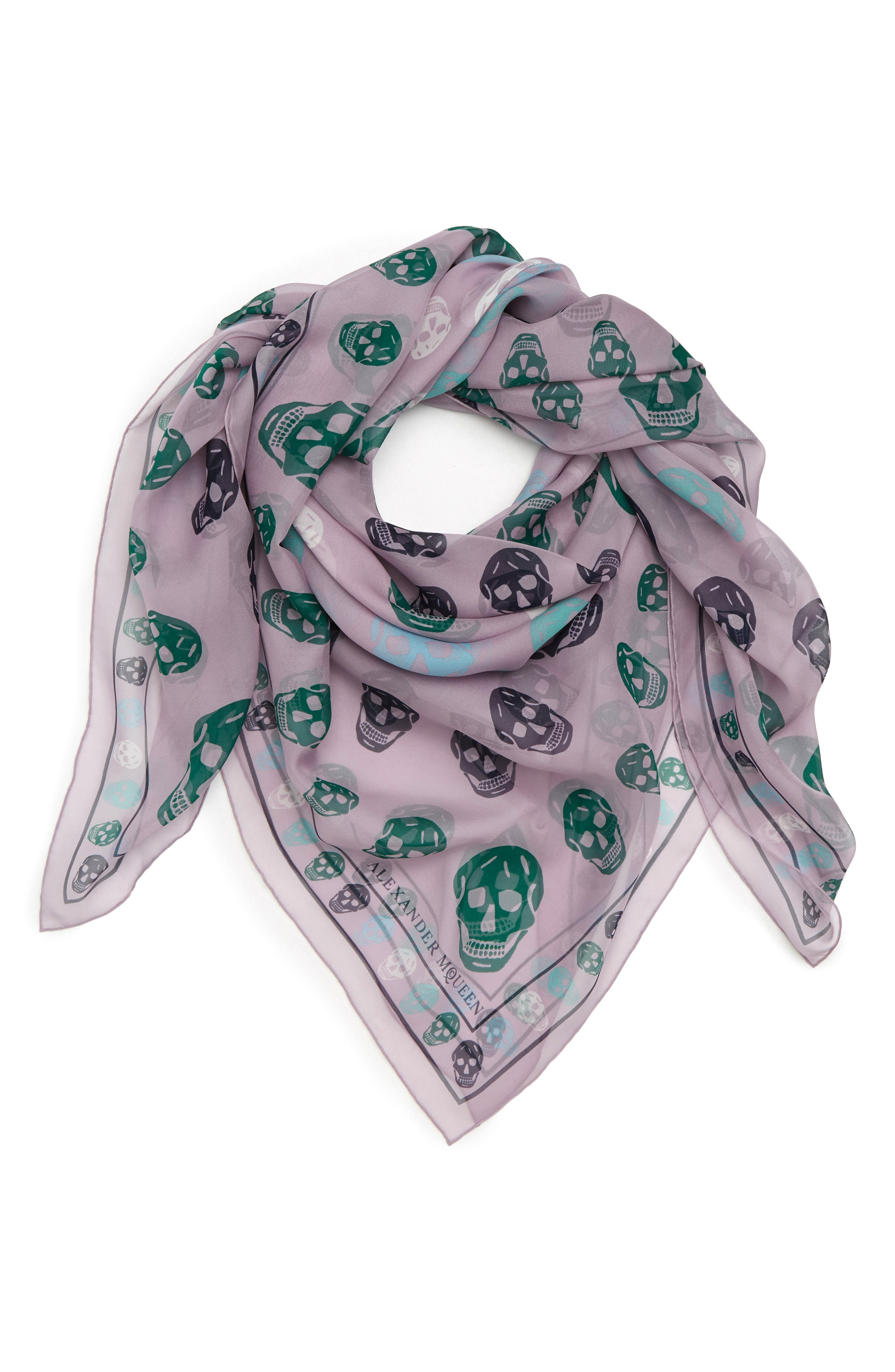 Skull Print Chiffon Scarf,                             Alternate thumbnail 3, color,                             Lilac/ Sky Blue