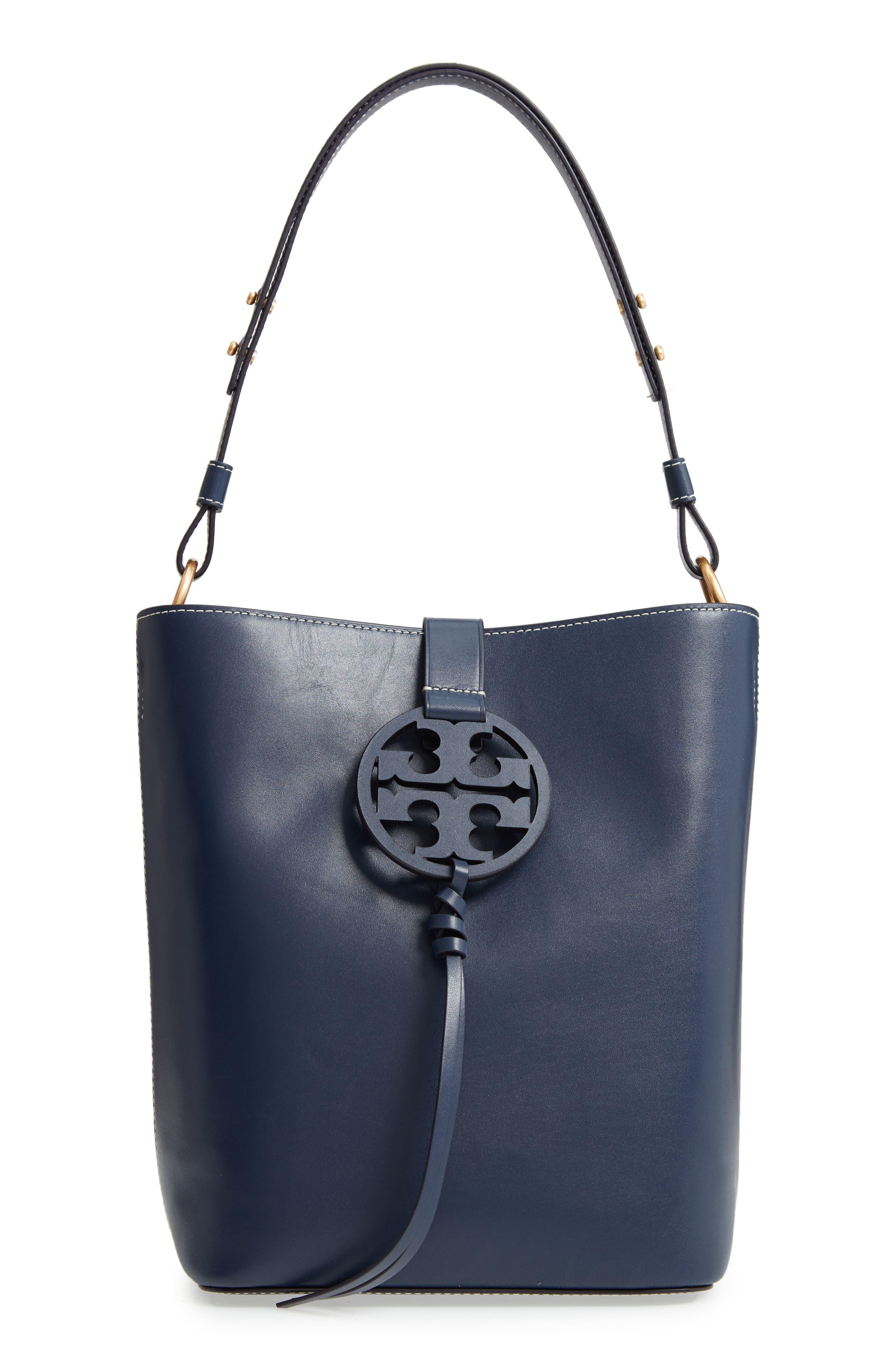 Miller Smooth Leather Tassel-Tab Shoulder Hobo Bag in Royal Navy