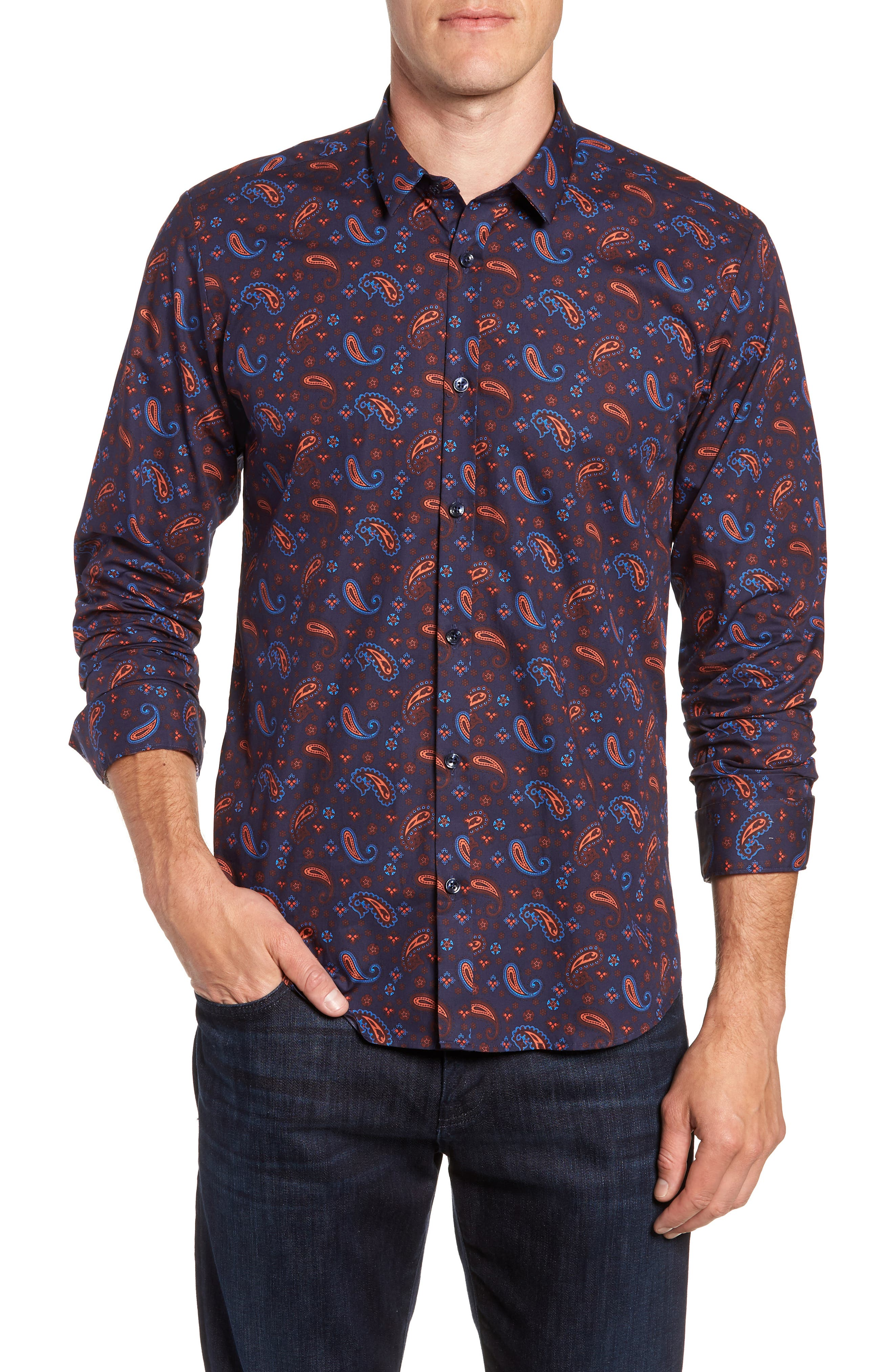 Paisley Print Sport Shirt,                             Main thumbnail 1, color,                             Navy Orange Print