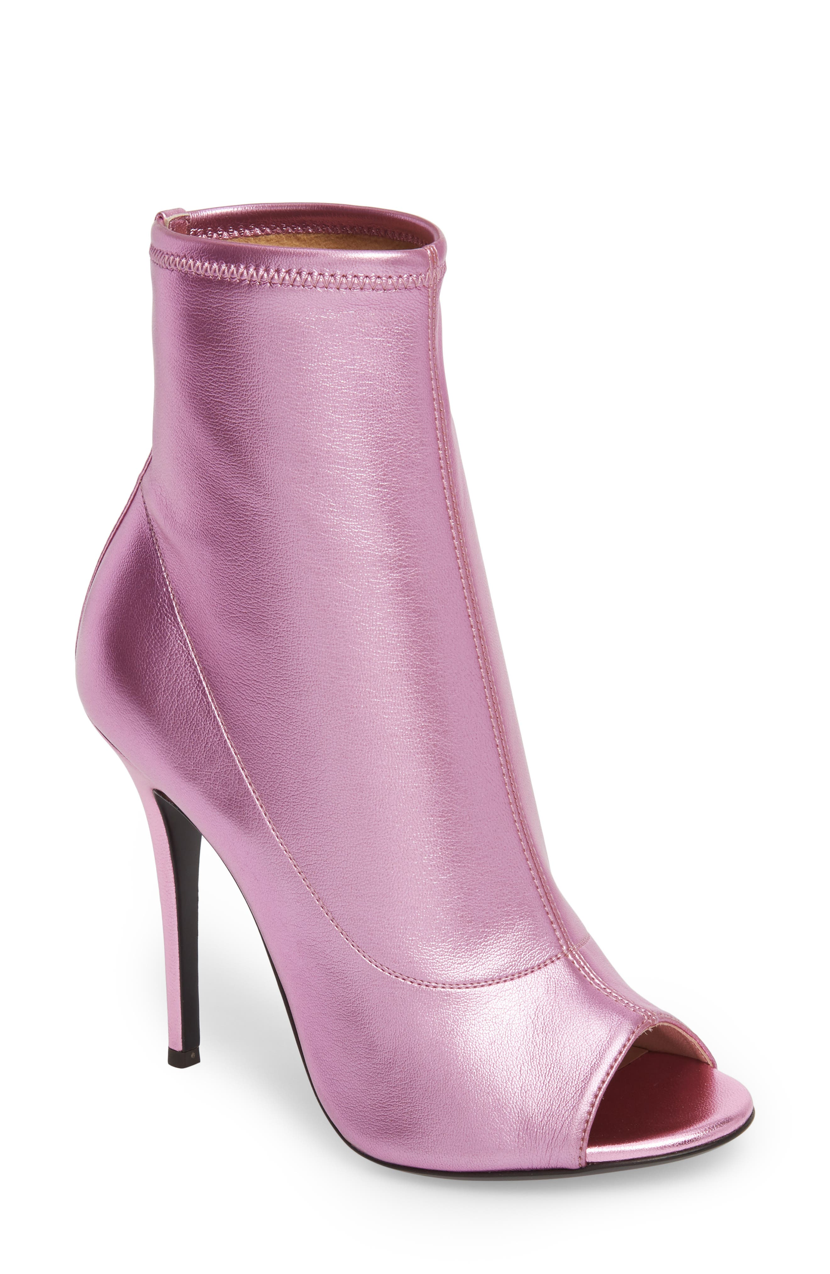 METALLIC OPEN TOE BOOTIE