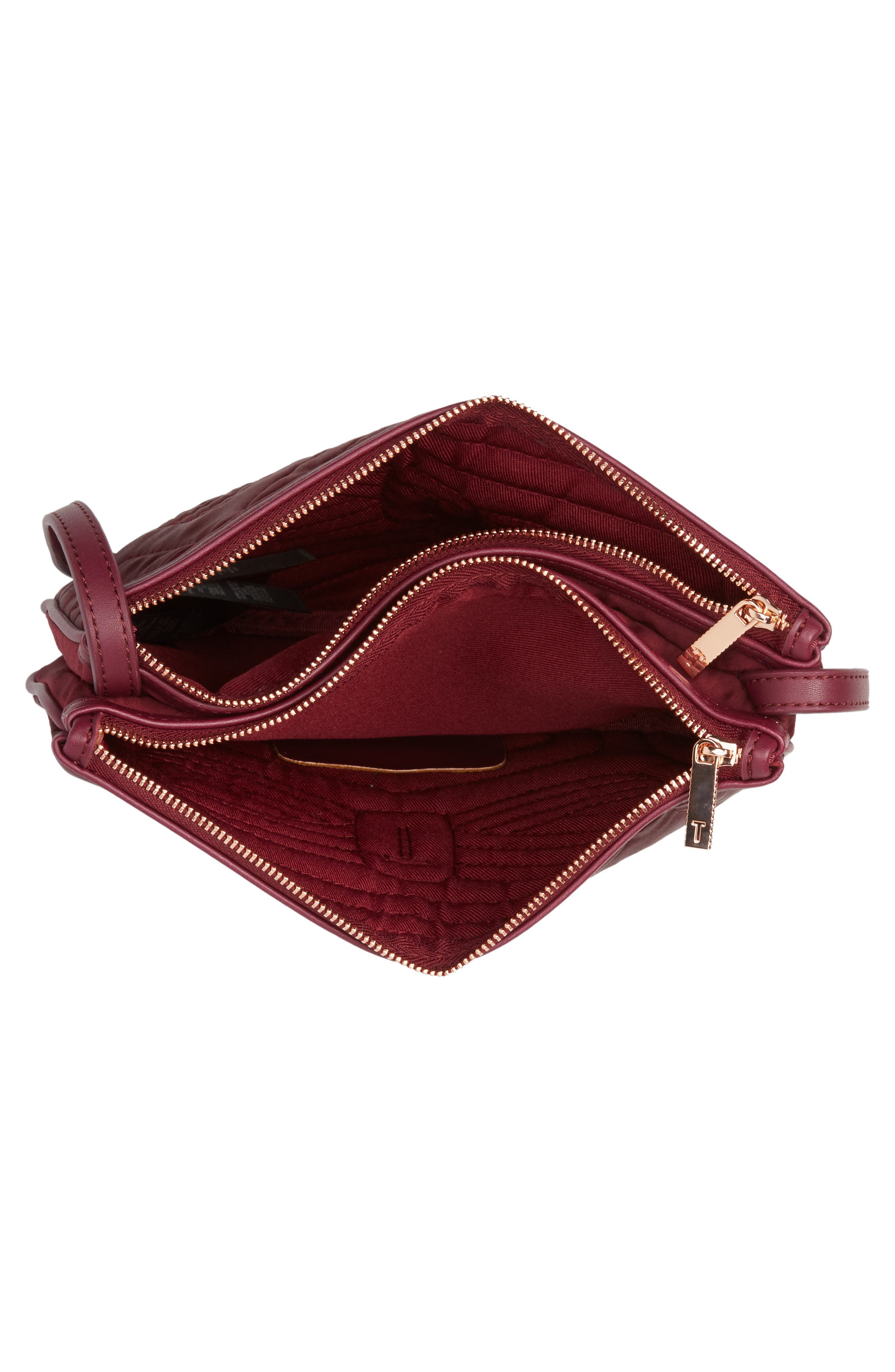 Quilted Bow Crossbody Bag,                             Alternate thumbnail 4, color,                             Maroon