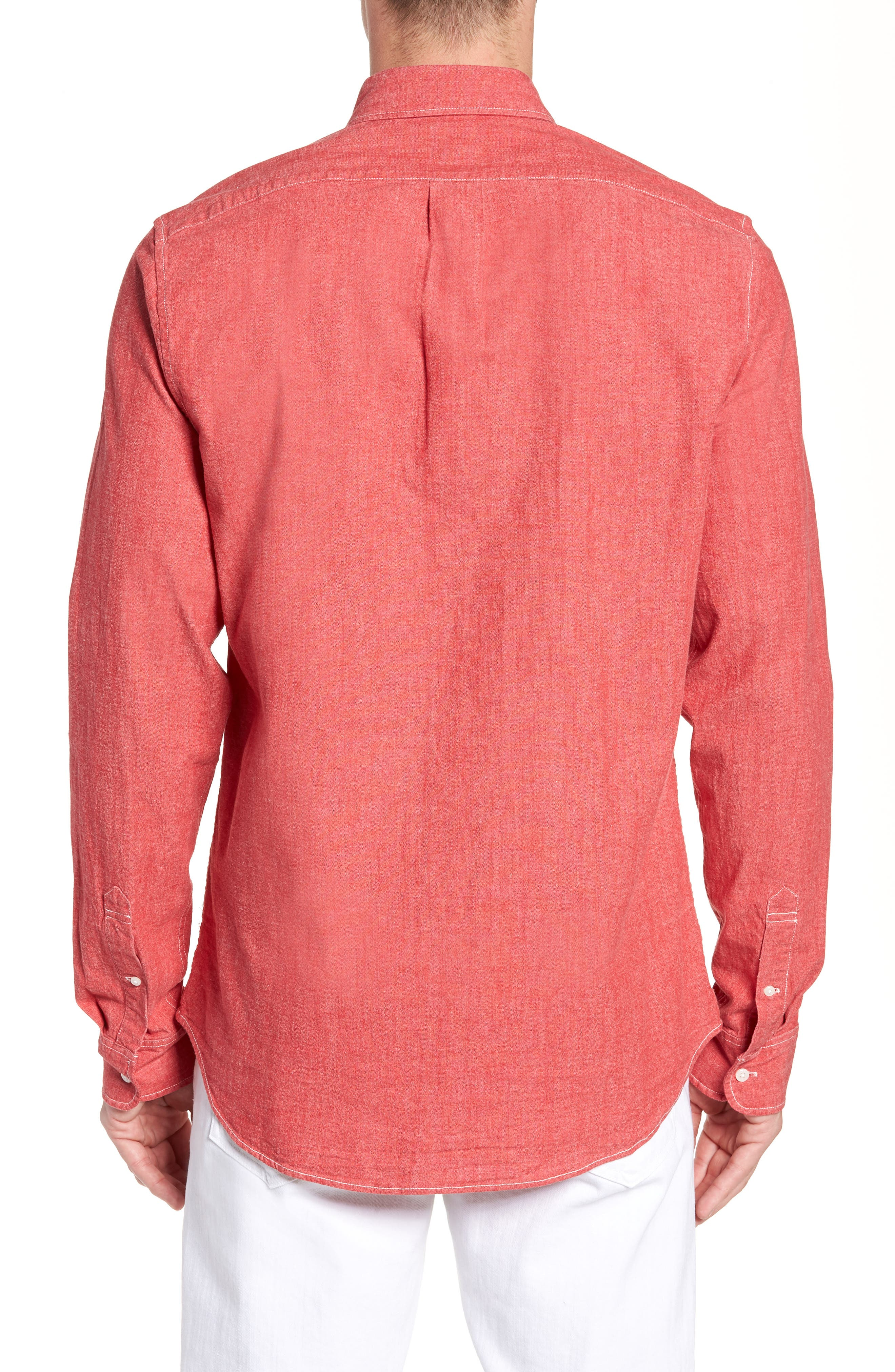 Slim Fit Stretch Chambray Sport Shirt,                             Alternate thumbnail 3, color,                             Coral Reef