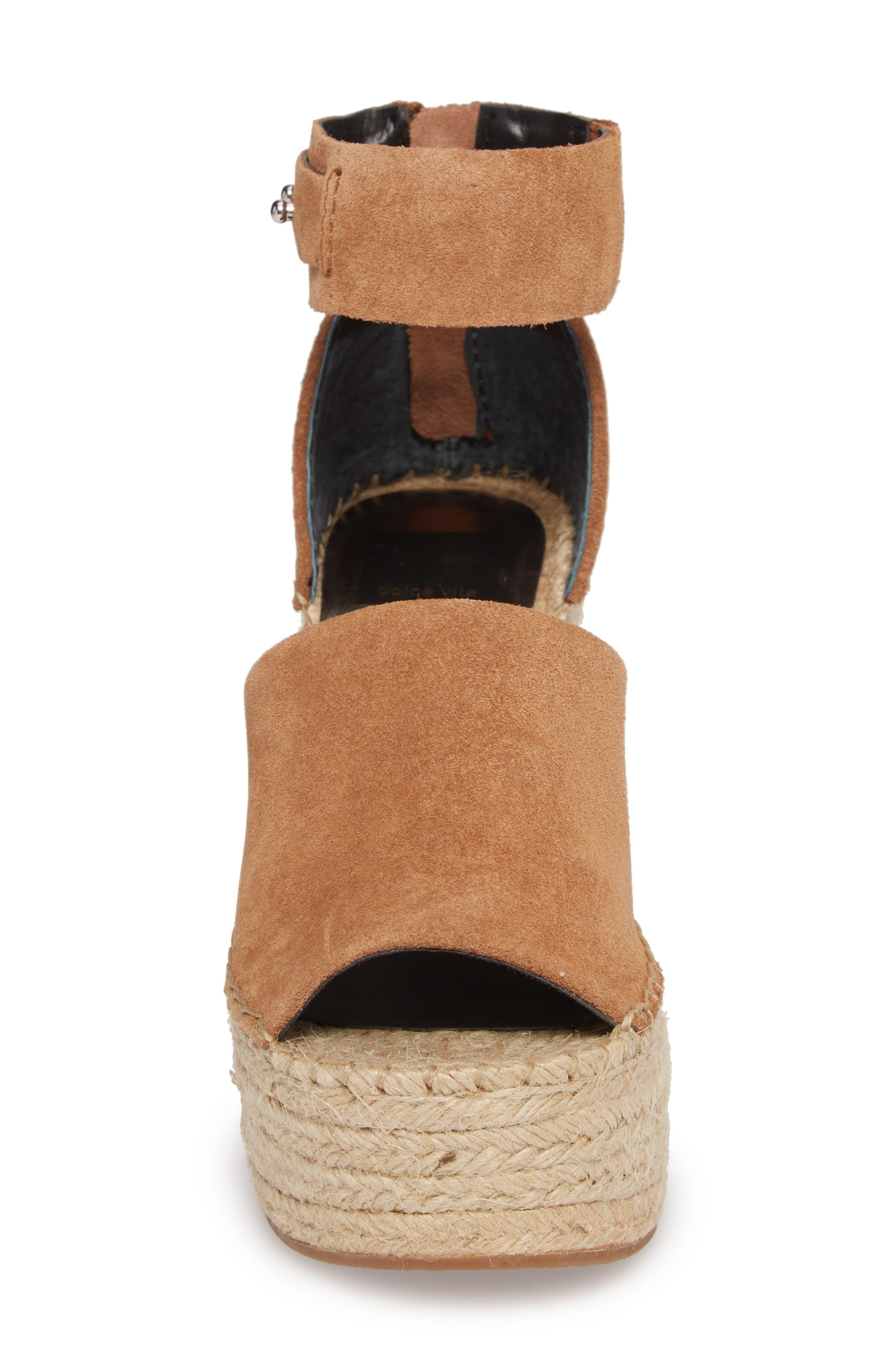 Straw Wedge Espadrille Sandal,                             Alternate thumbnail 4, color,                             Dark Saddle