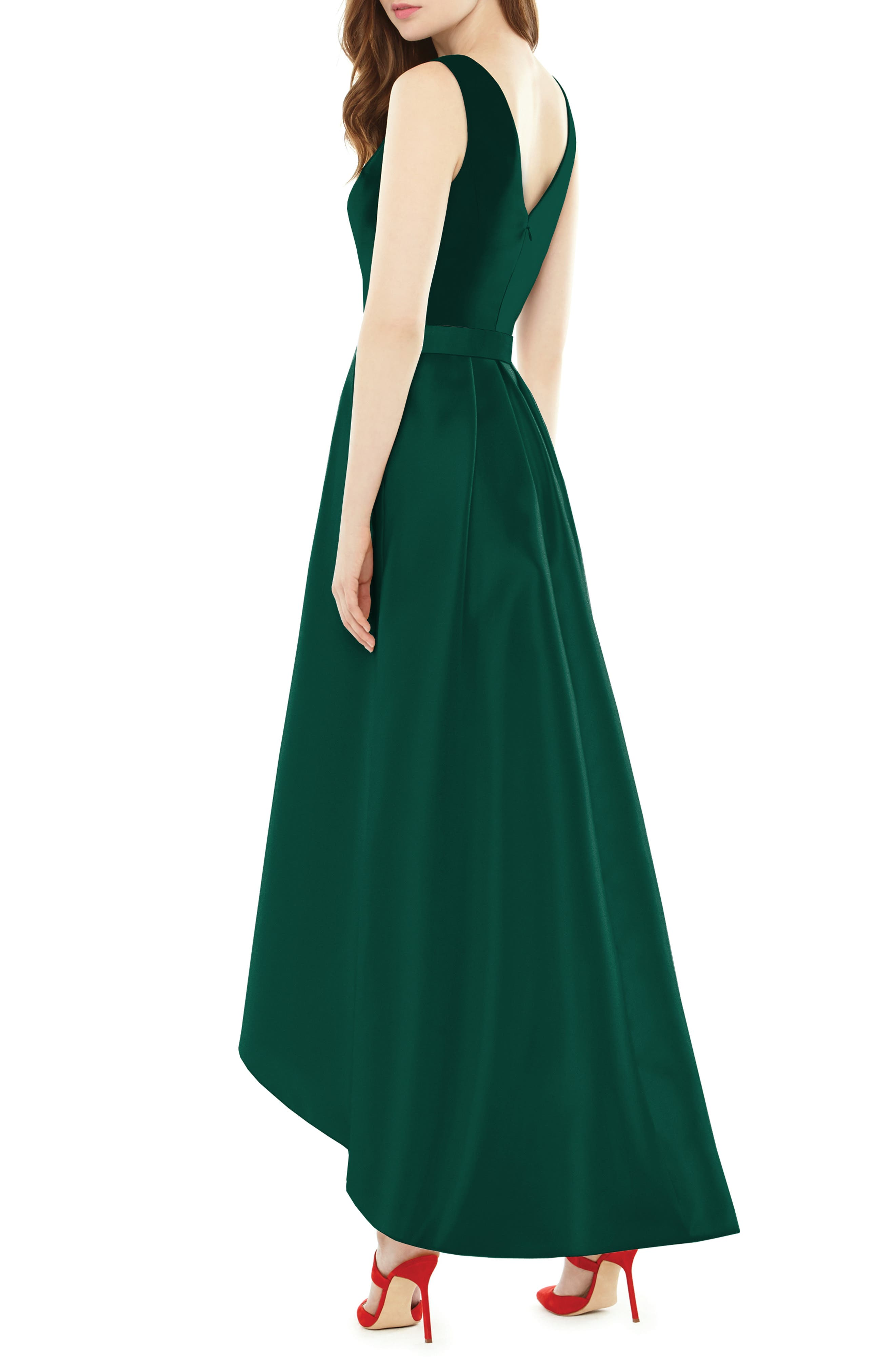 High/Low Sateen Twill Gown,                             Alternate thumbnail 2, color,                             Hunter