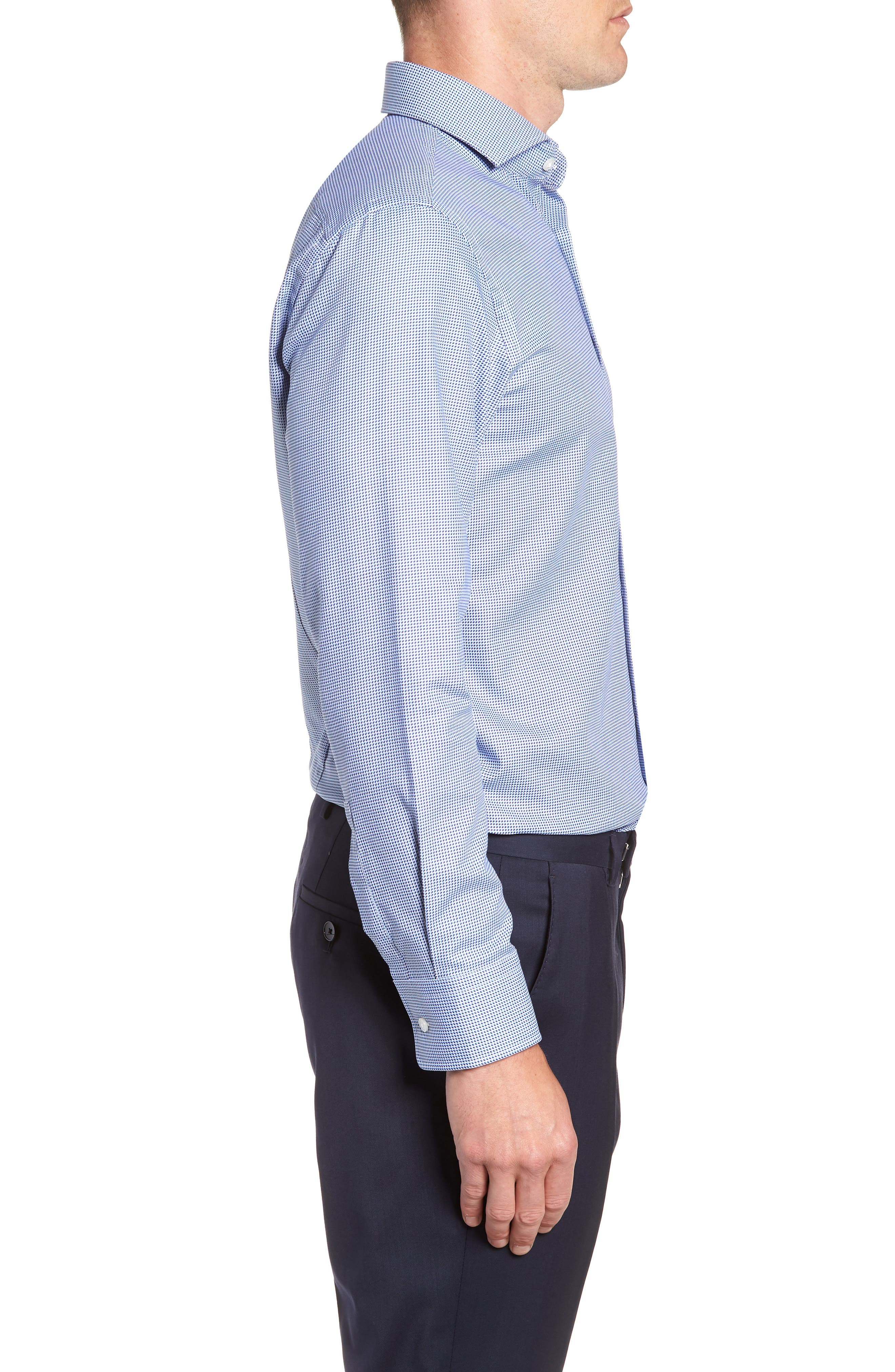 Sharp Fit Mark Micro Grid Dress Shirt,                             Alternate thumbnail 4, color,                             Navy