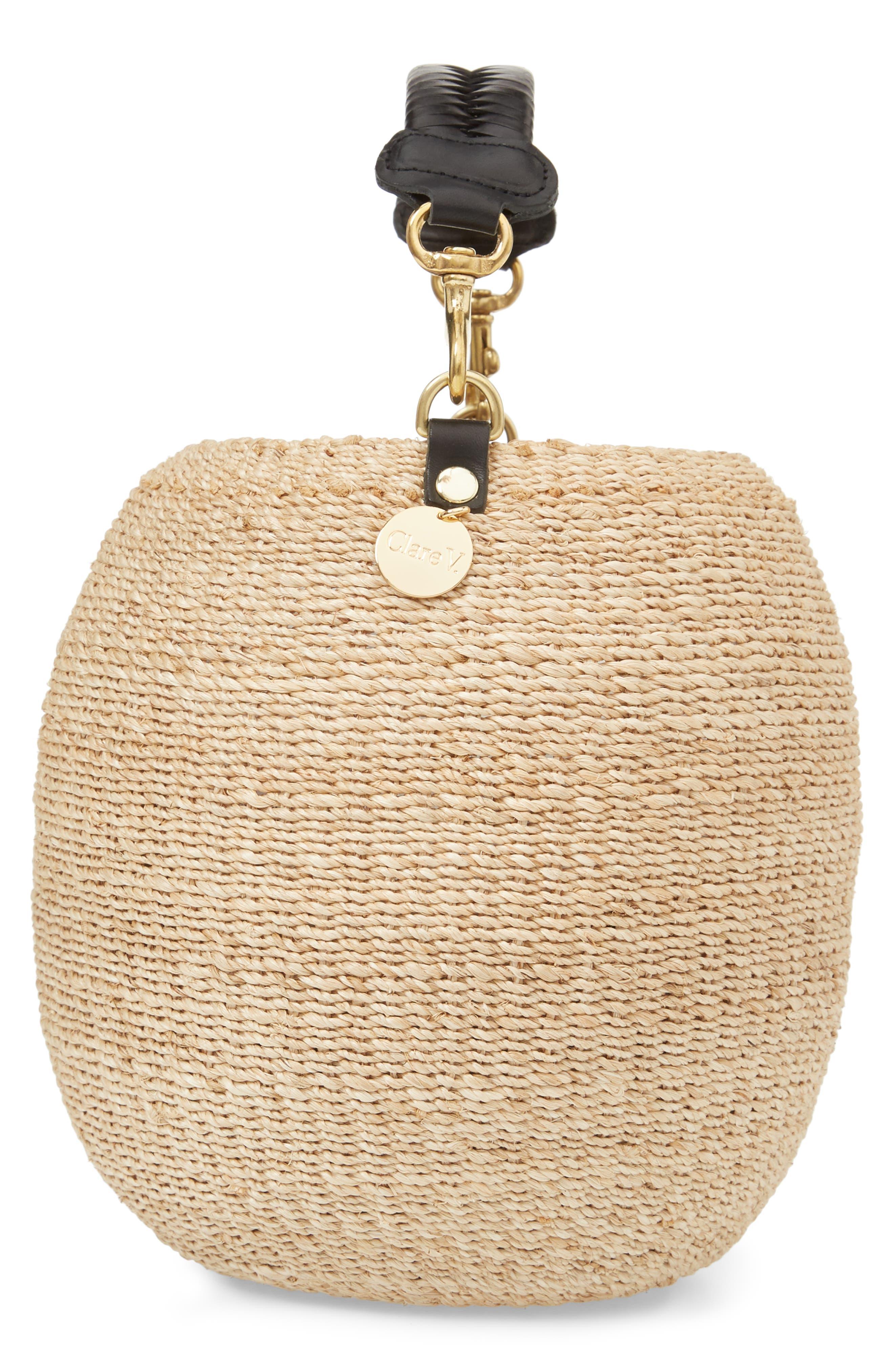 Pot de Miel Top Handle Straw Basket Bag,                             Alternate thumbnail 4, color,                             Cream