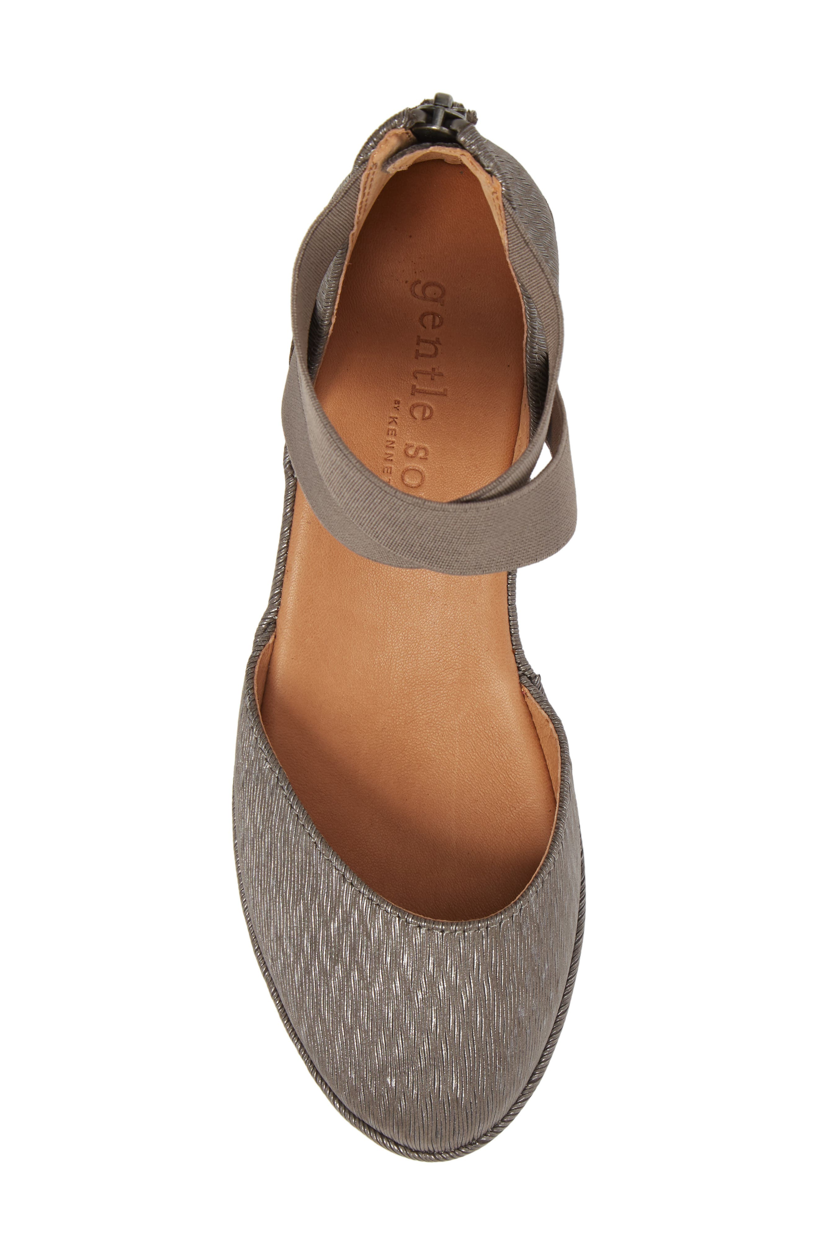 by Kenneth Cole 'Noa' Elastic Strap d'Orsay Sandal,                             Alternate thumbnail 5, color,                             Ash Embossed Leather
