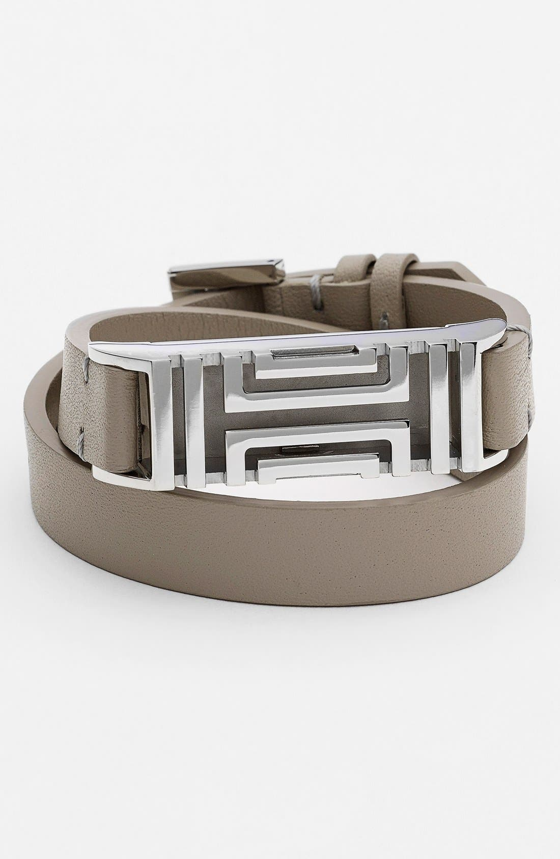 for Fitbit<sup>®</sup> Leather Wrap Bracelet,                         Main,                         color, French Grey/ Tory Silver
