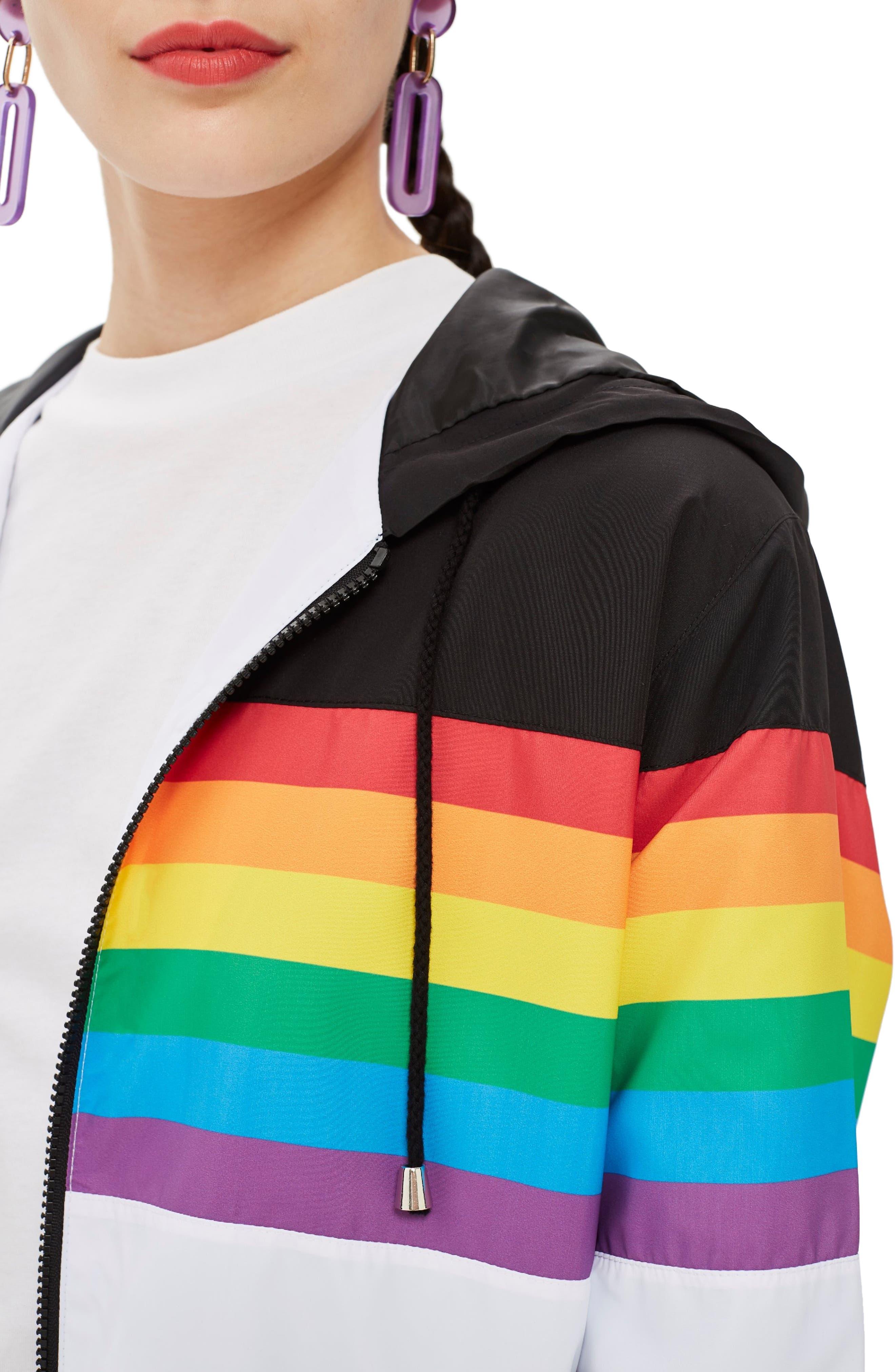 Rainbow Windbreaker,                             Alternate thumbnail 4, color,                             White Multi