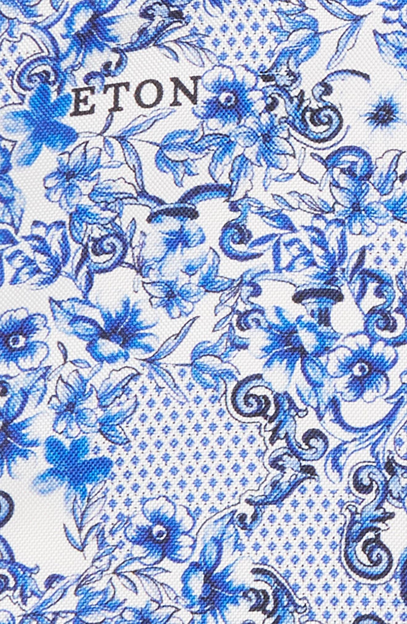 Floral Tile Silk Pocket Square,                             Alternate thumbnail 4, color,                             Blue