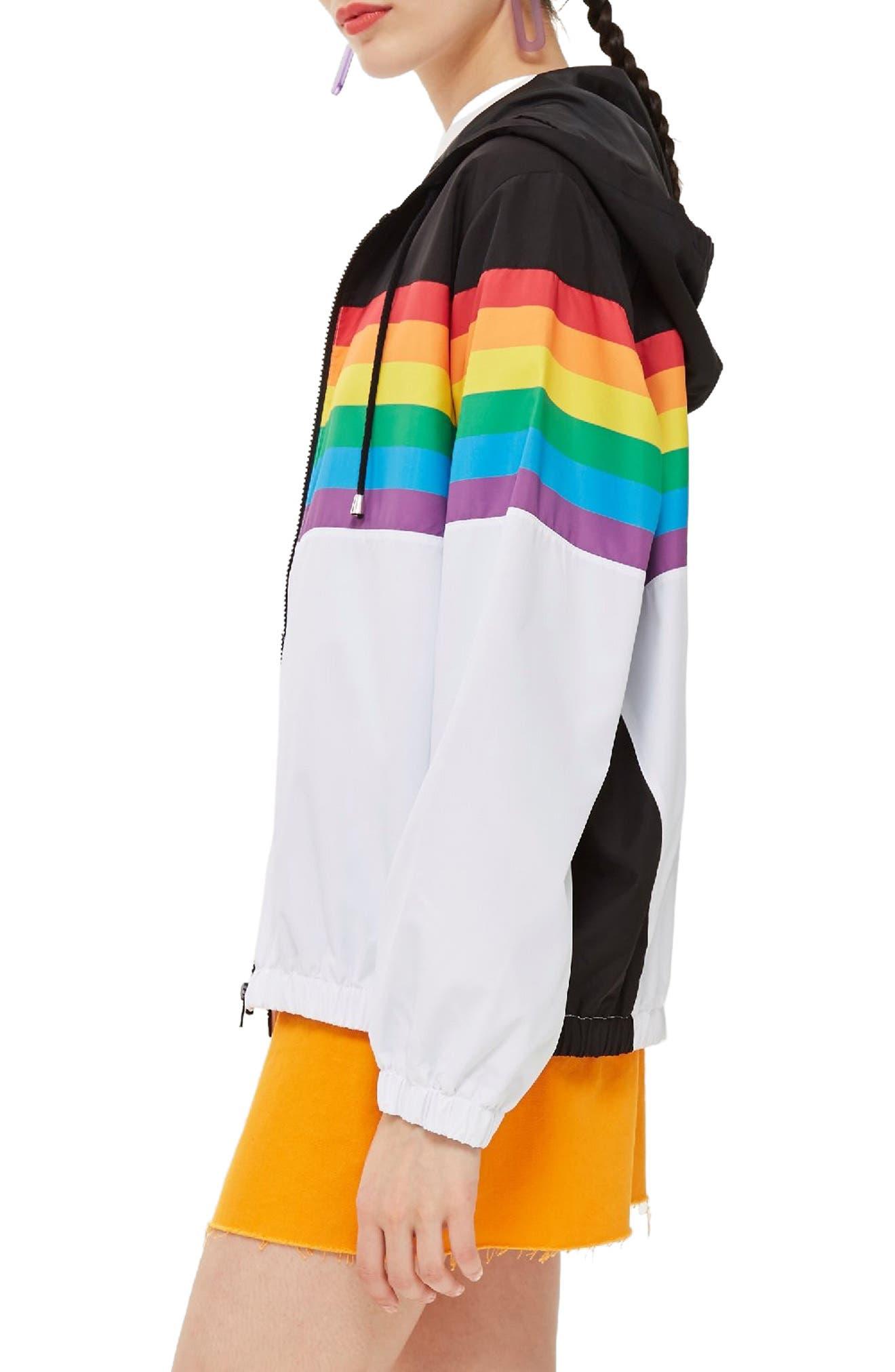 Rainbow Windbreaker,                             Alternate thumbnail 3, color,                             White Multi