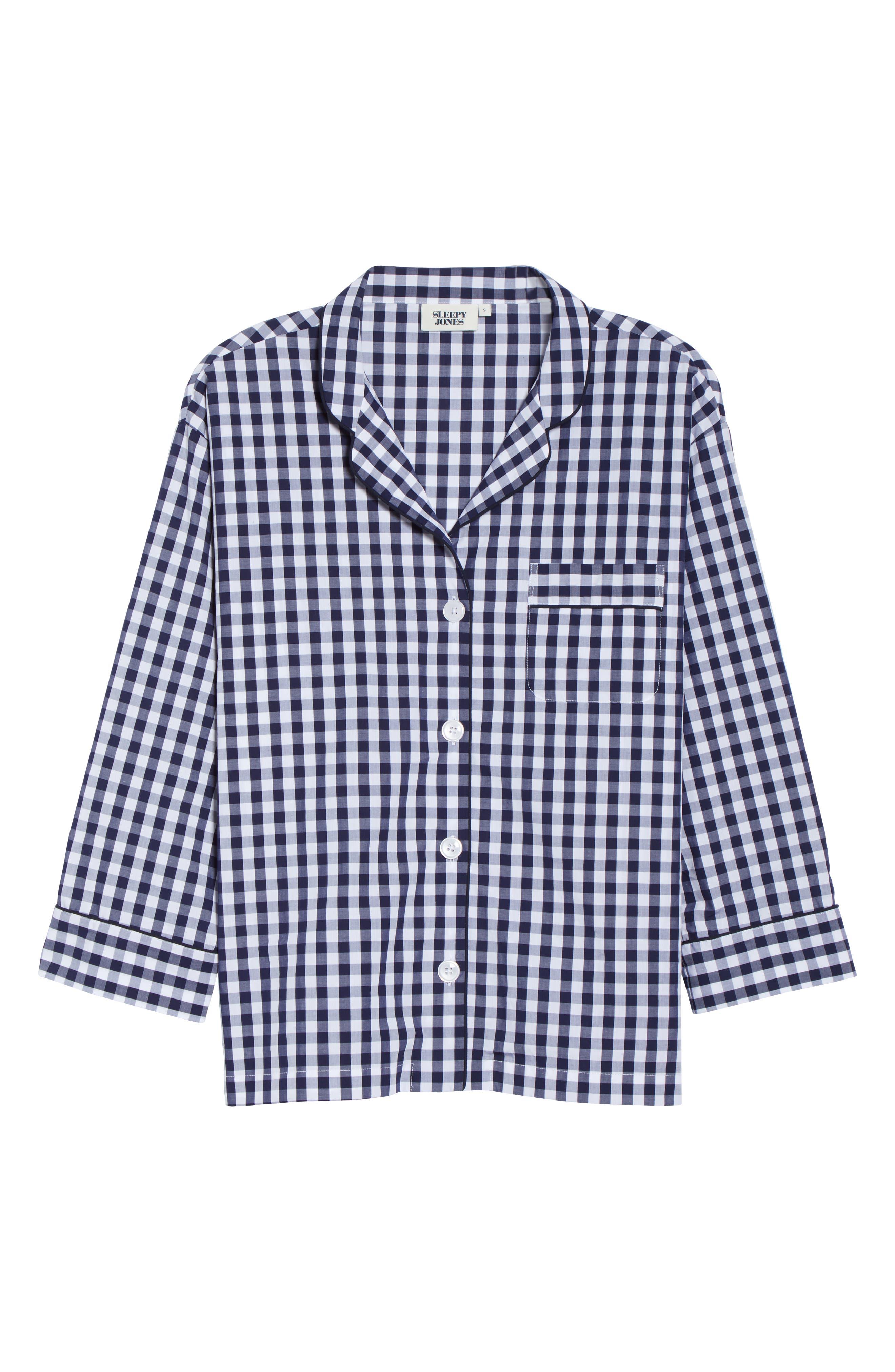 SLEEPY JONES Pajama Shirt in Large Gingham Blue