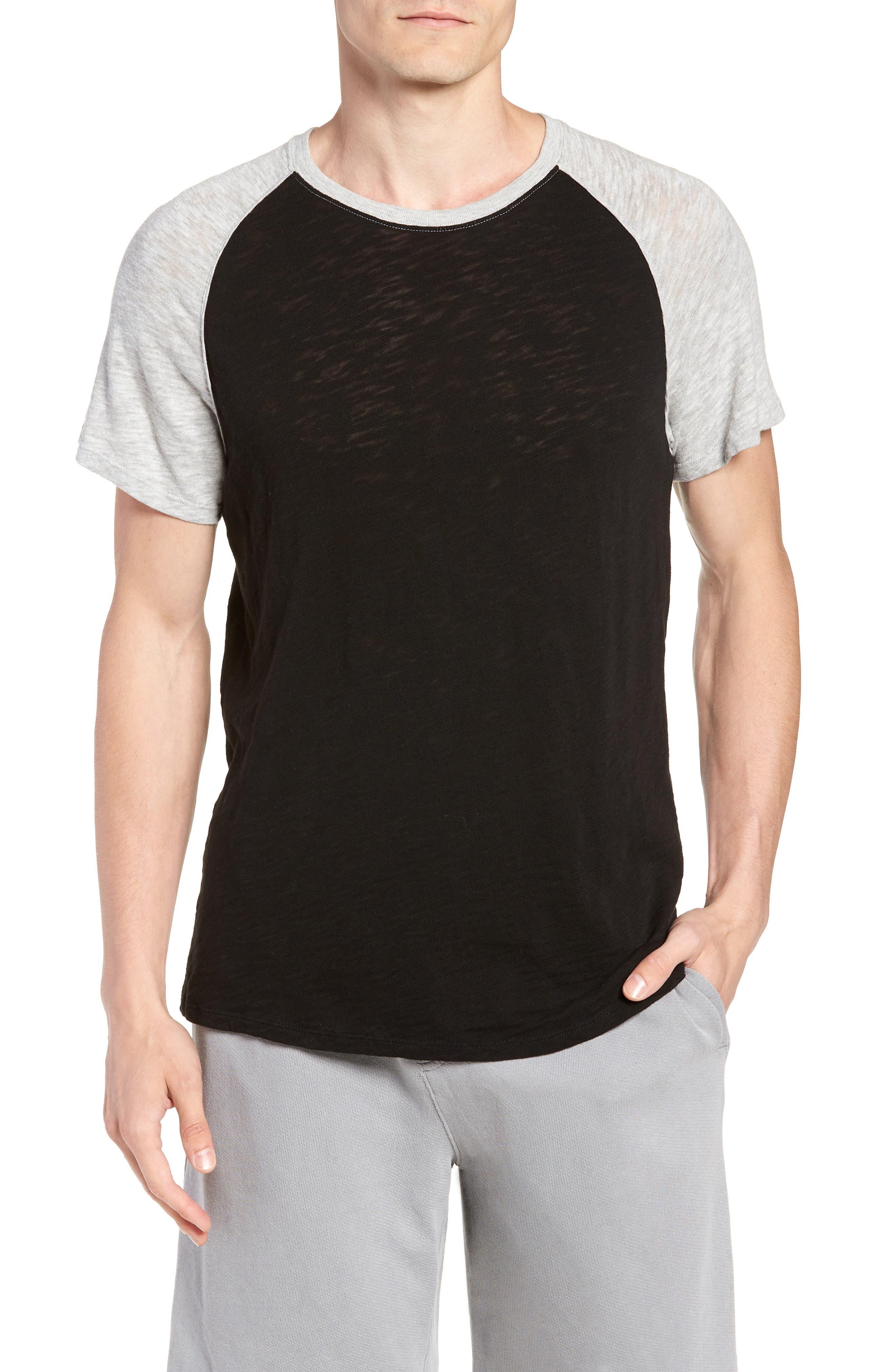 Slub Jersey Baseball T-Shirt,                         Main,                         color, Black/ Heather Grey Combo